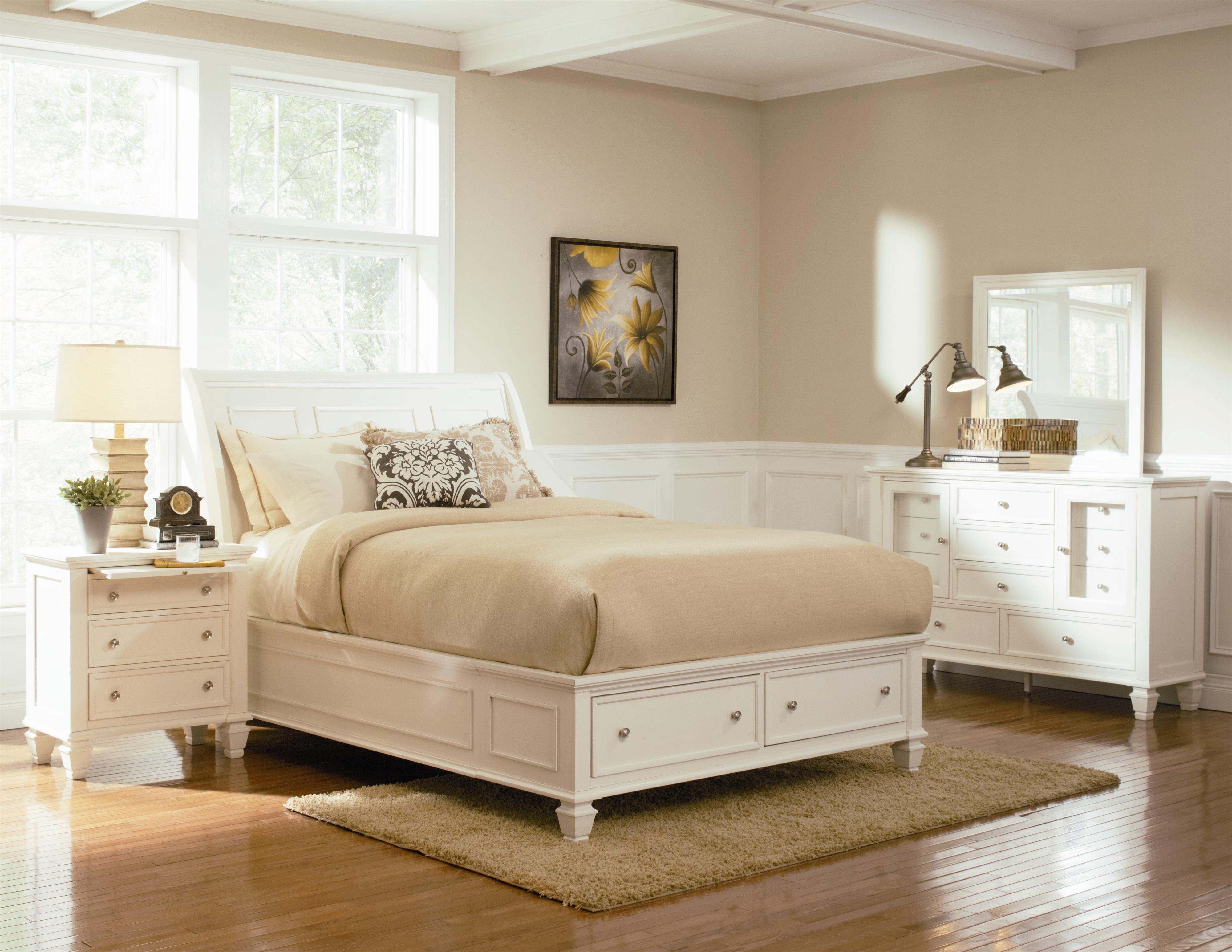 Coaster Sandy Beach Queen Sleigh Bed with Footboard Storage ...