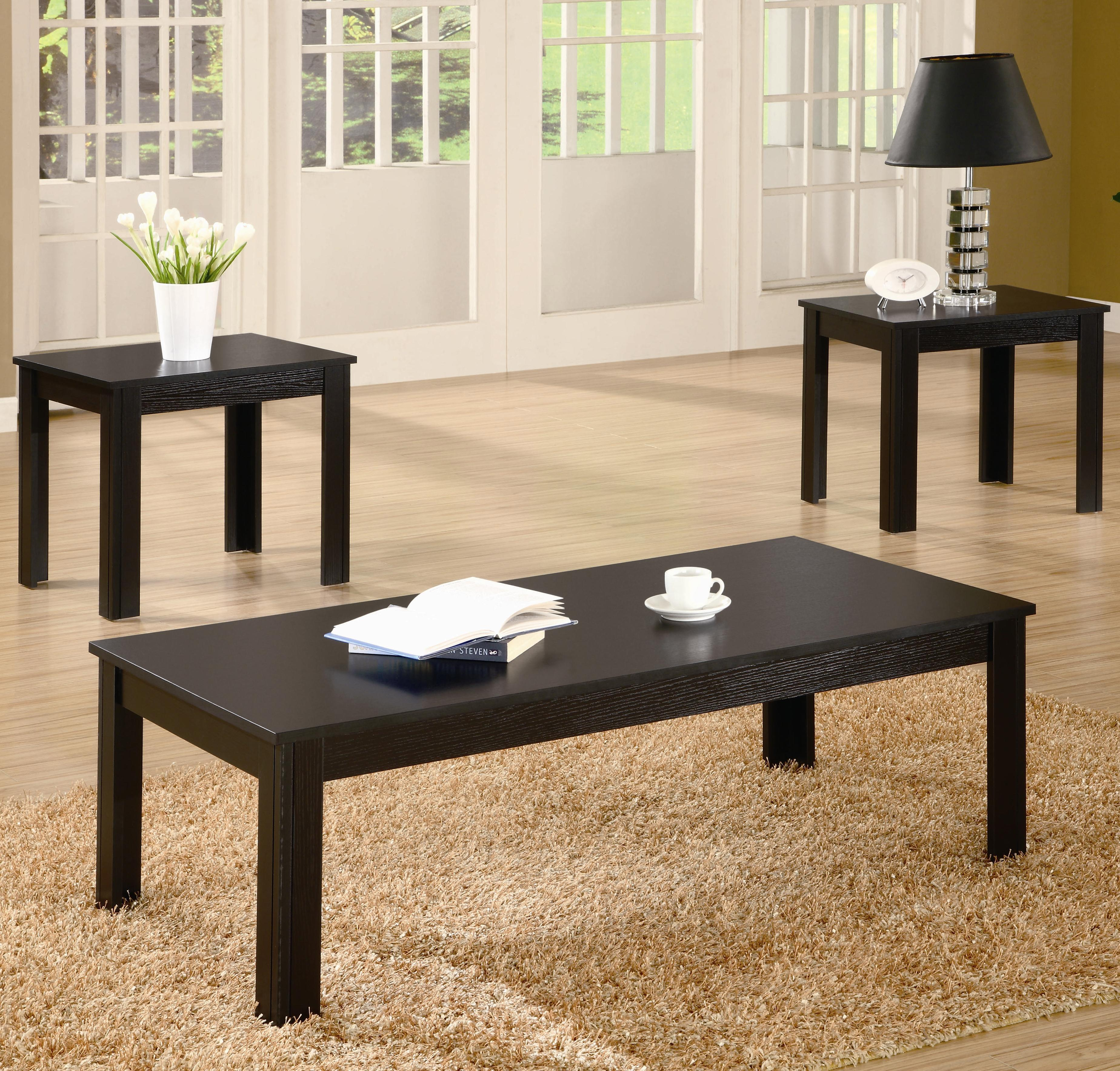 Coaster Occasional Table Sets 3-Piece Contemporary Round Coffee u0026 End Table Set - Coaster Fine Furniture : 3 piece black coffee table sets - Pezcame.Com