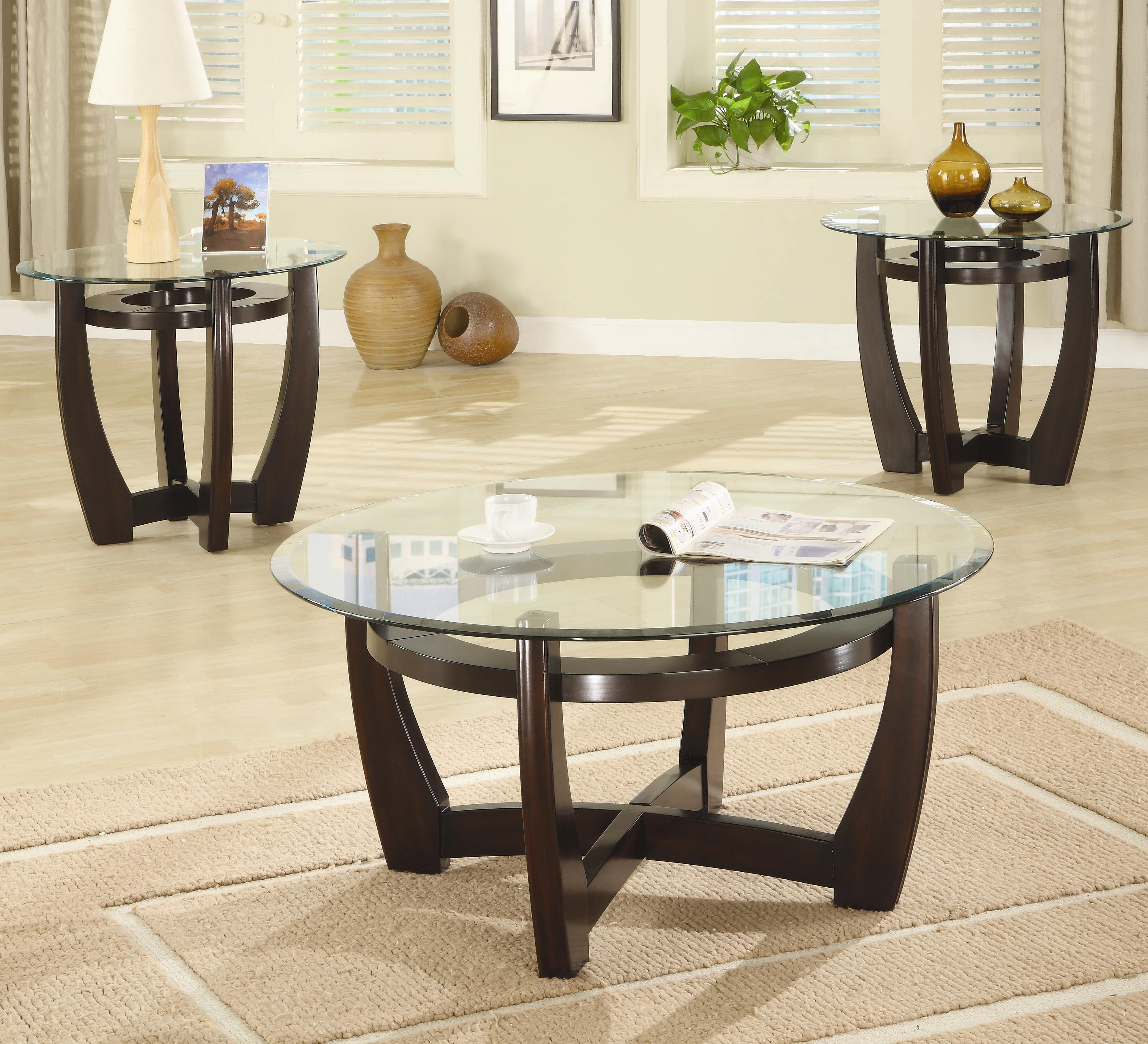 Coaster Occasional Table Sets 3 Piece Contemporary Round Coffee End Set