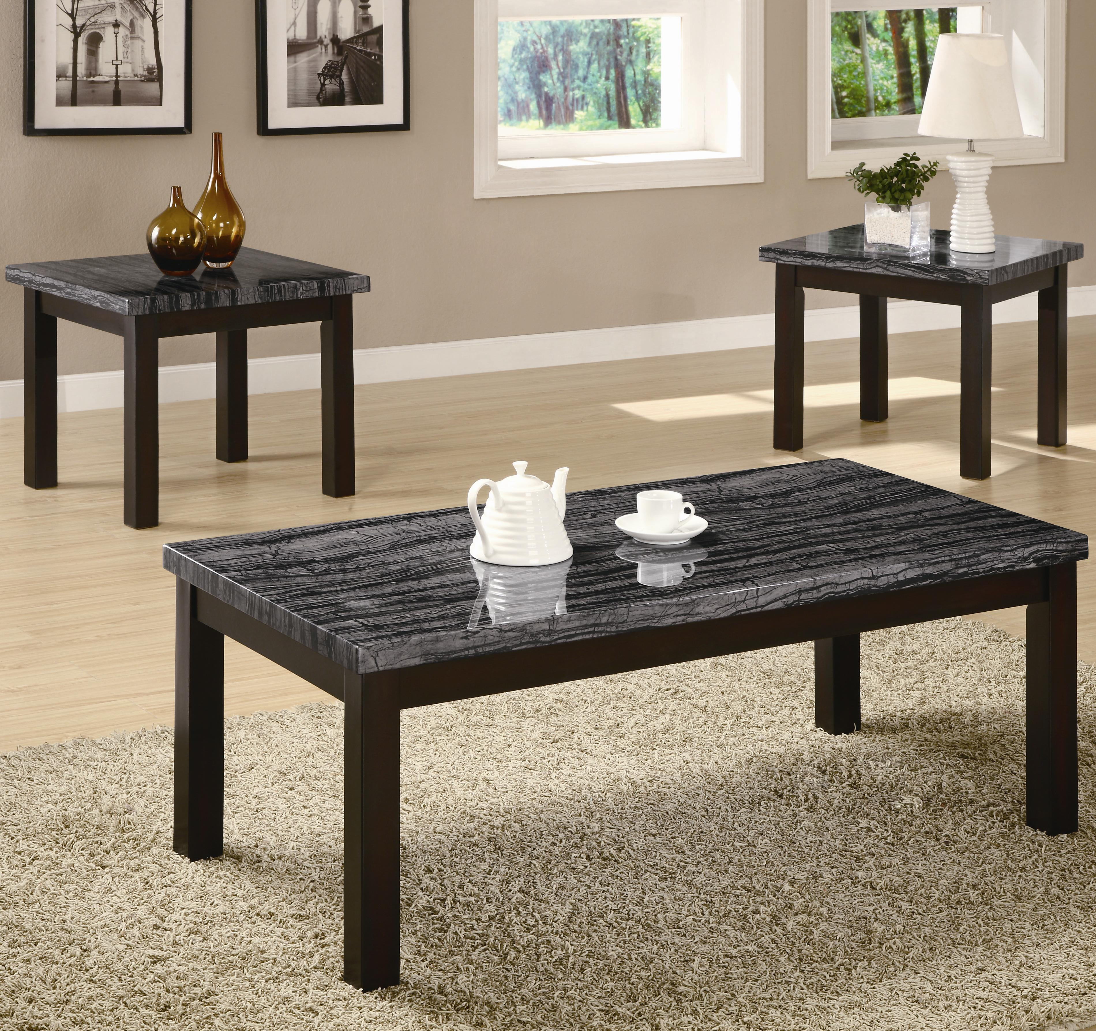 Coaster Occasional Table Sets Coffee Table and End Table Set - Coaster Fine Furniture & Coaster Occasional Table Sets Coffee Table and End Table Set ...