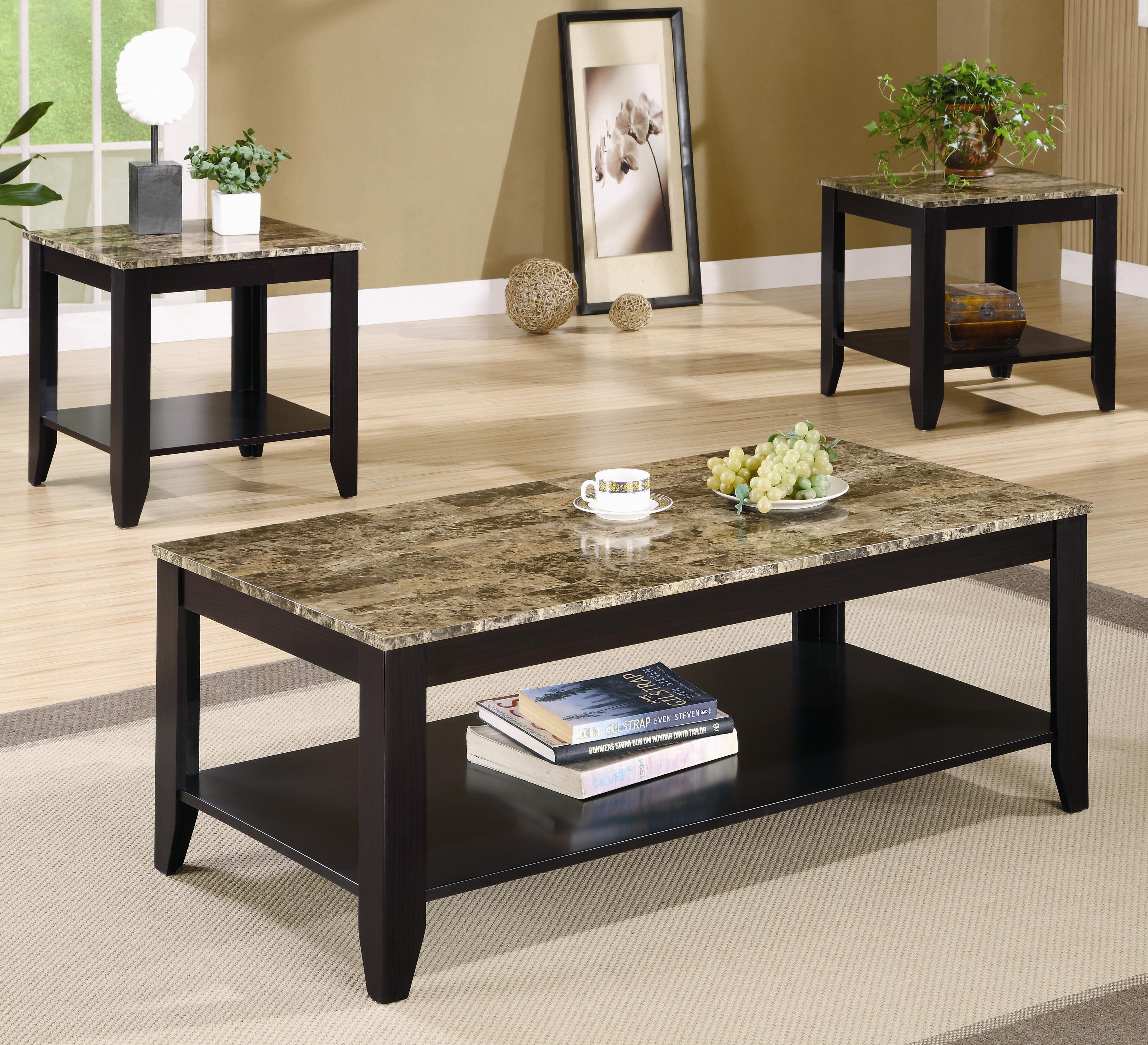 Coaster Occasional Table Sets Modern Coffee Table and End Table Set - Coaster Fine Furniture & Coaster Occasional Table Sets Modern Coffee Table and End Table Set ...