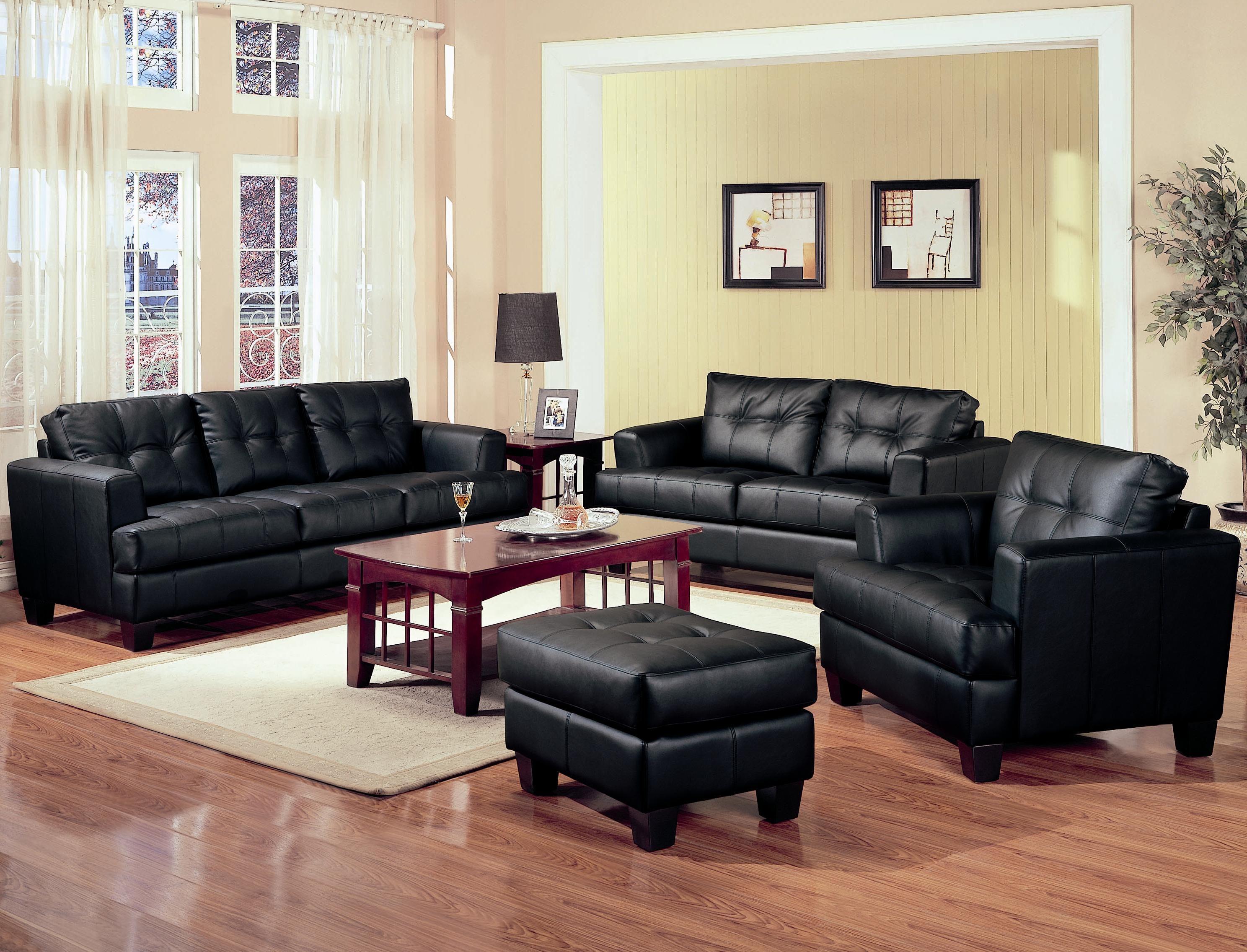 Leather Chair Living Room Coaster Samuel 2 Piece Black Bonded Leather Loveseat And Sofa