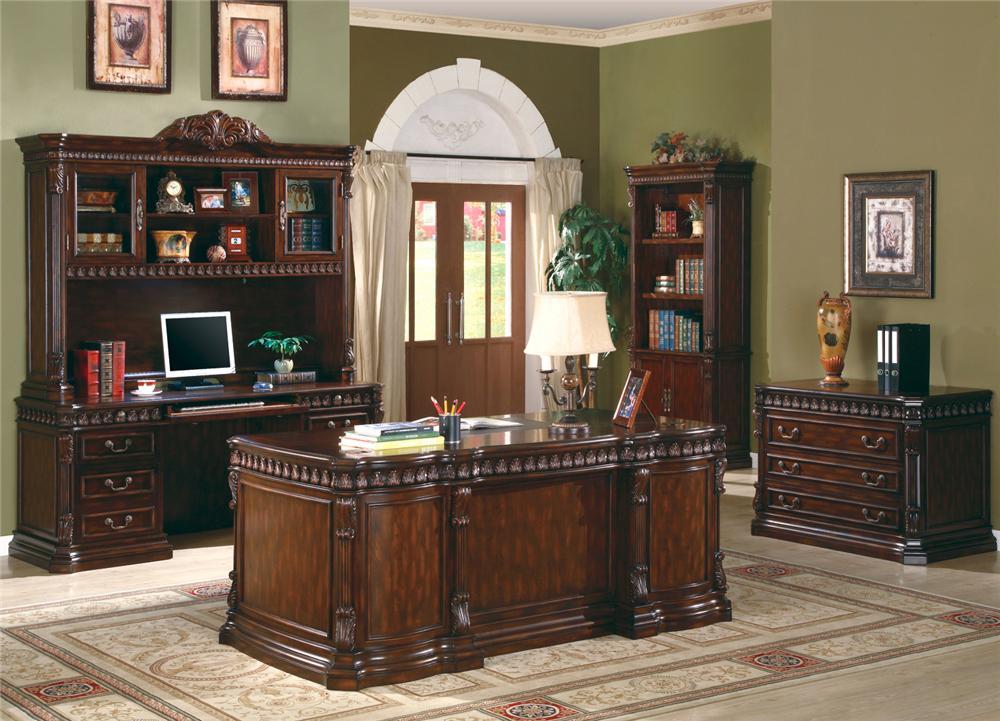 Coaster Tucker Double Pedestal Desk With Leather Insert Top Fine Furniture