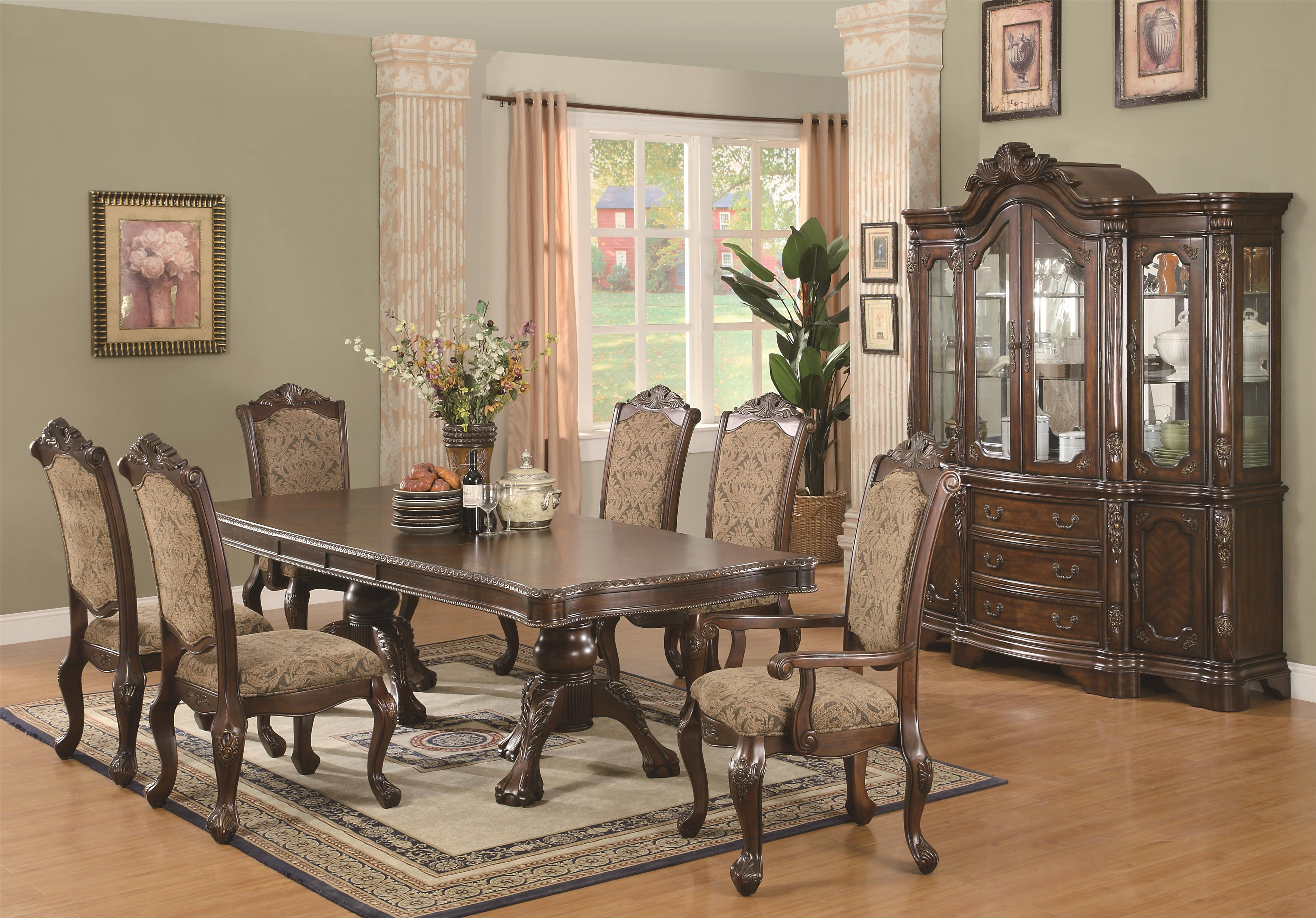 coaster andrea 7 piece double pedestal dining table and cushion