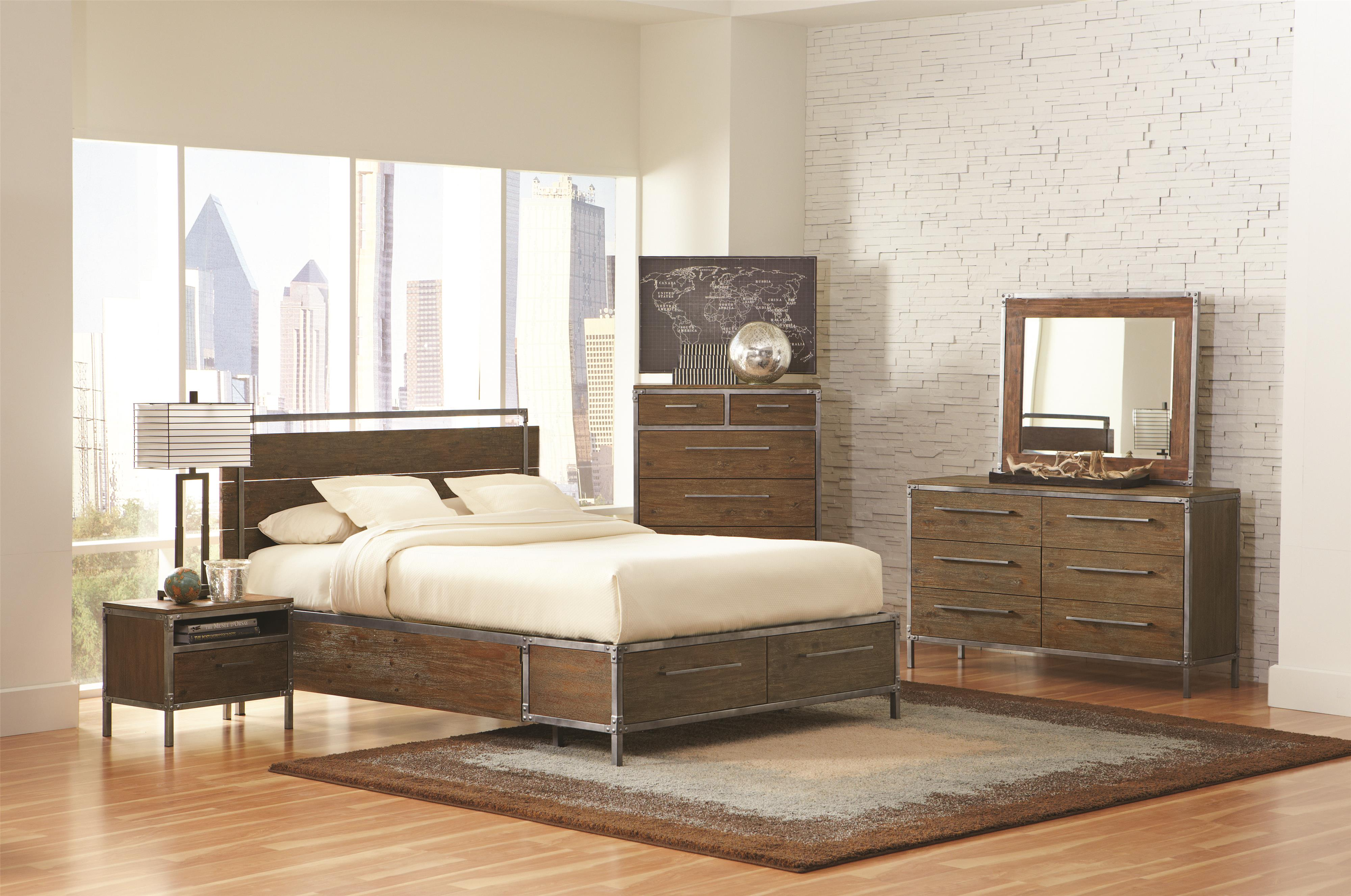 Pewter Bedroom Furniture Coaster Arcadia 20380 Industrial Queen Platform Bed With Pewter