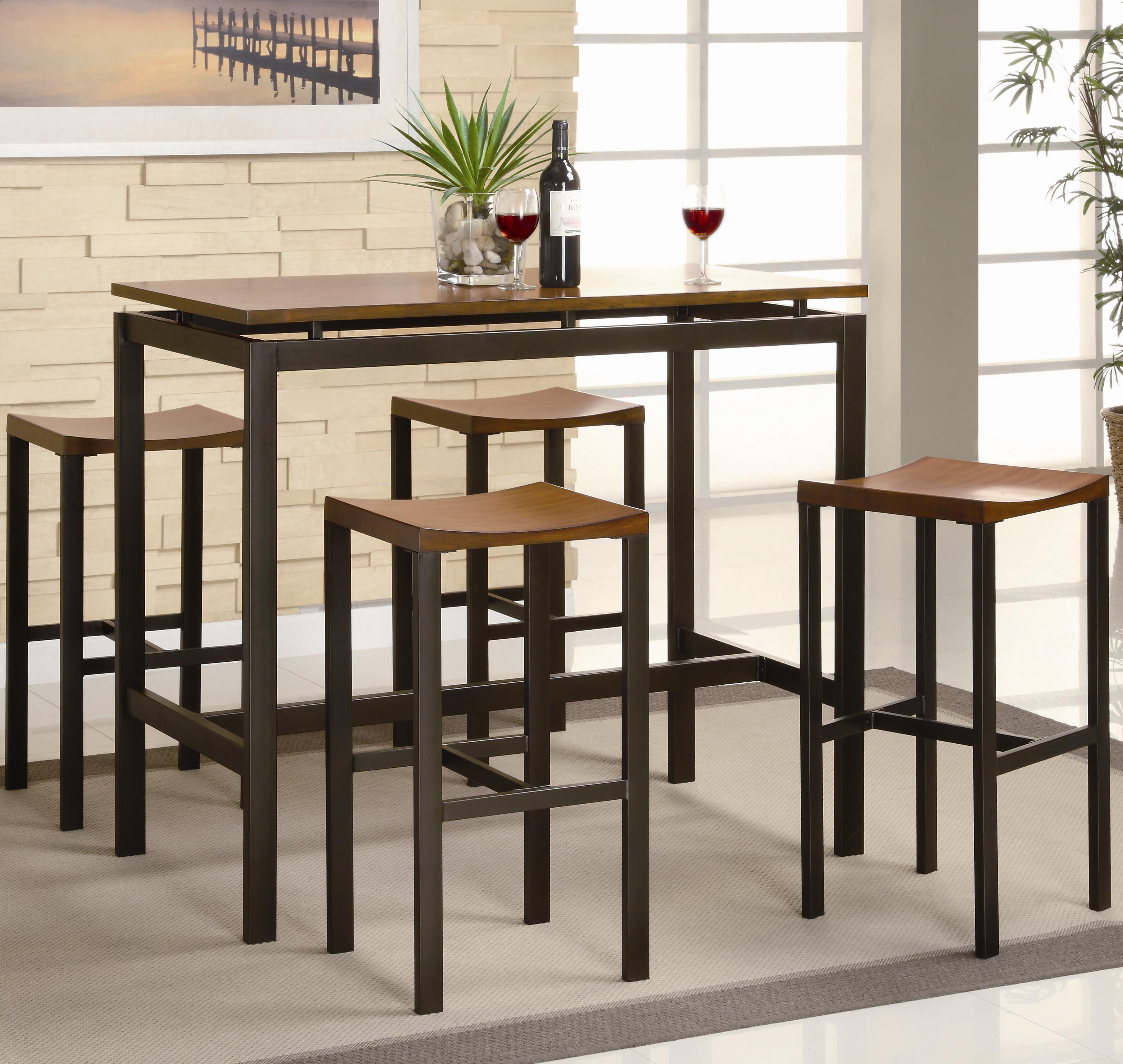 Coaster Atlus Counter Height Contemporary Black Metal Table With Warm Oak  Top And 4 Stools   Coaster Fine Furniture