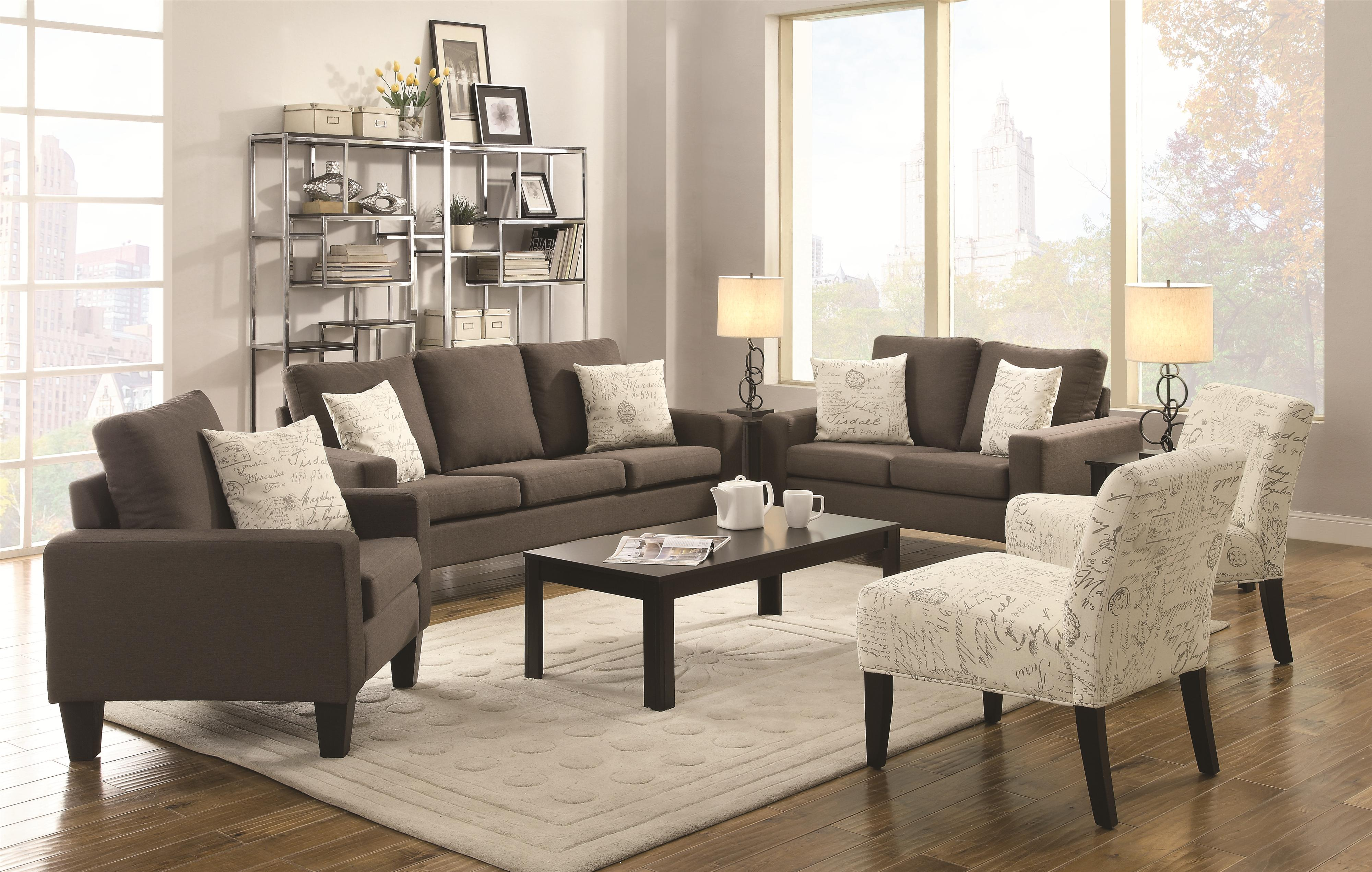 Coaster Bachman Sofa With Track Arms And Tapered Wood Legs   Coaster Fine  Furniture