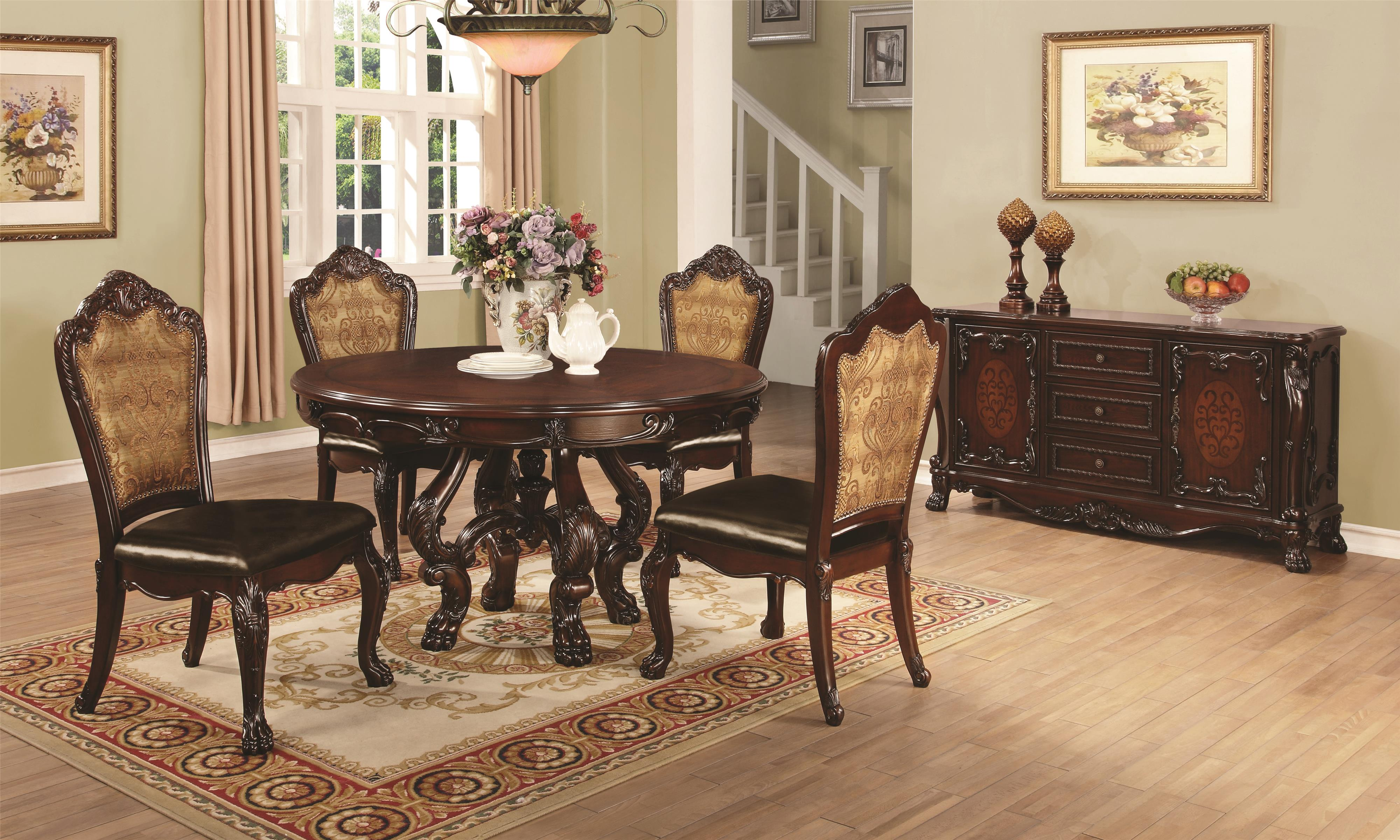 coaster benbrook round dining table with detailed pedestal coaster fine furniture - Buffet Kitchen Table