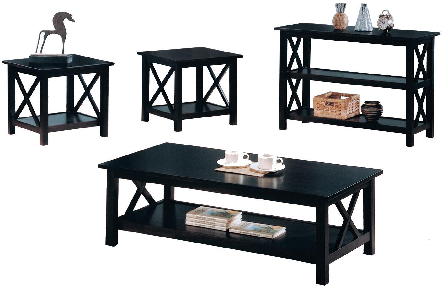 Black coffee table set -  Coaster Briarcliff Casual 3 Piece Occasional Table Set Coaster Fine Furniture 31 Singular Coffee