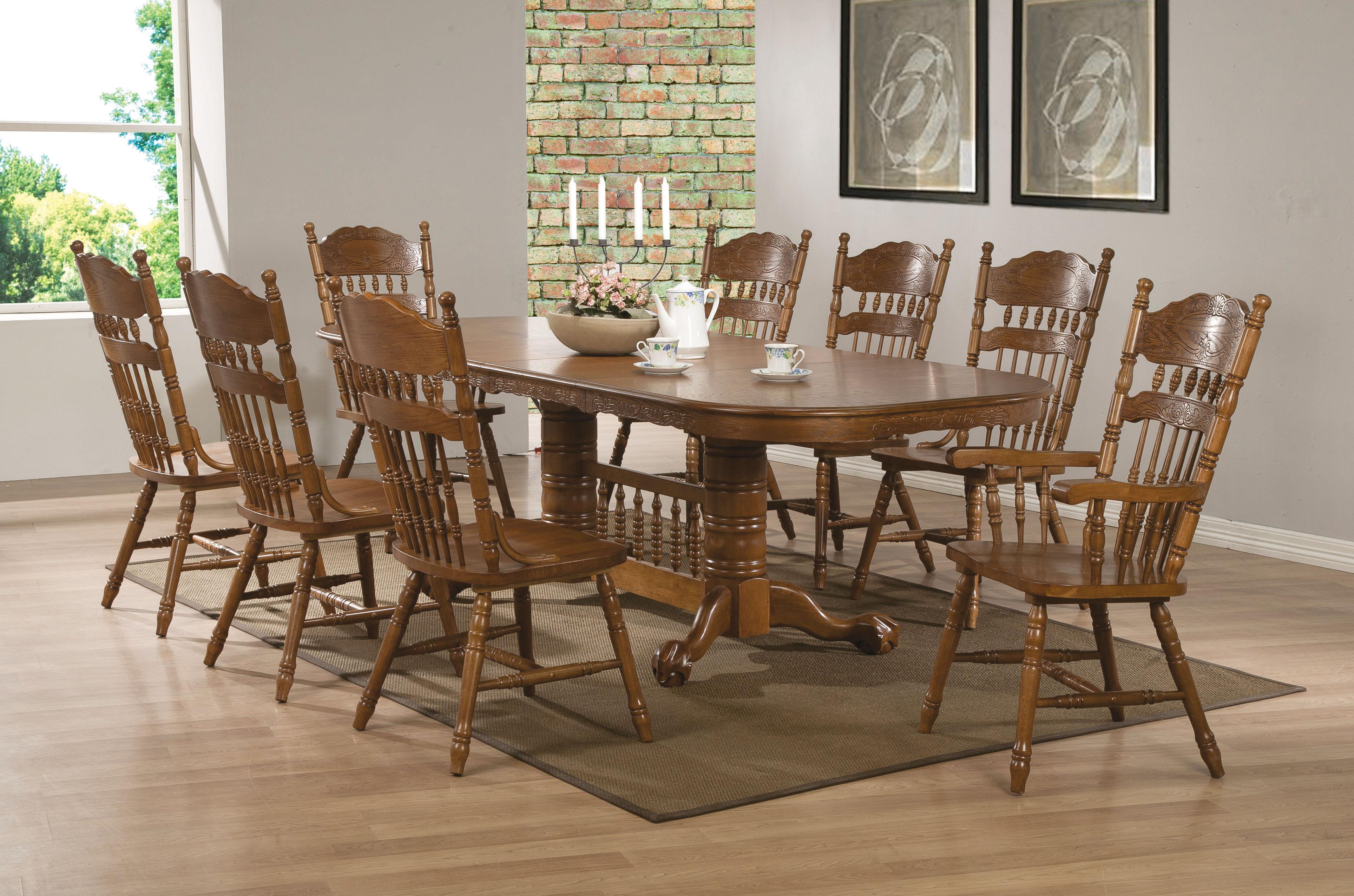 Coaster Brooks 9 Piece Table Set with Oak Finish Oval Trestle