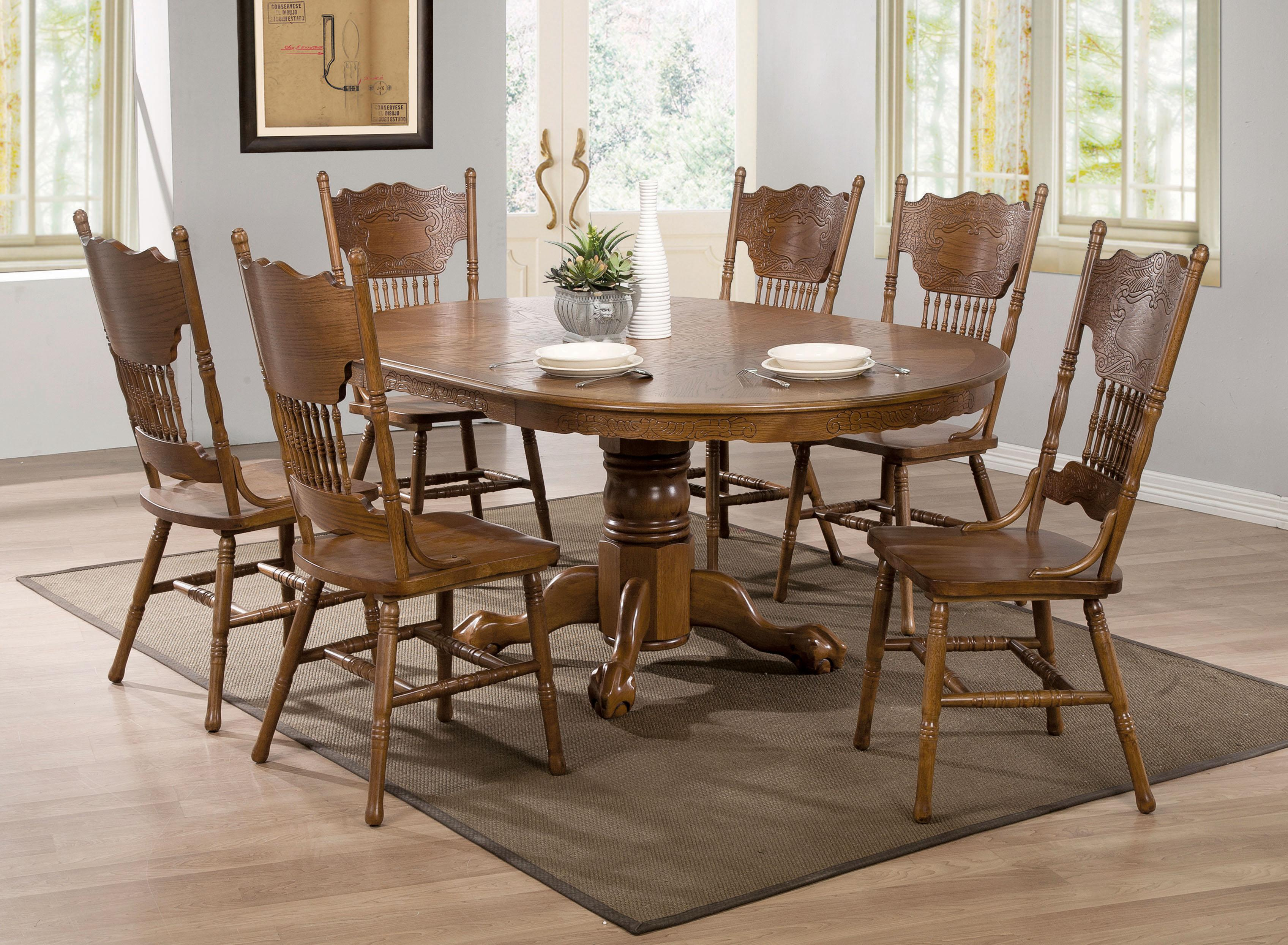 coaster brooks oak finish round oval dining table with single