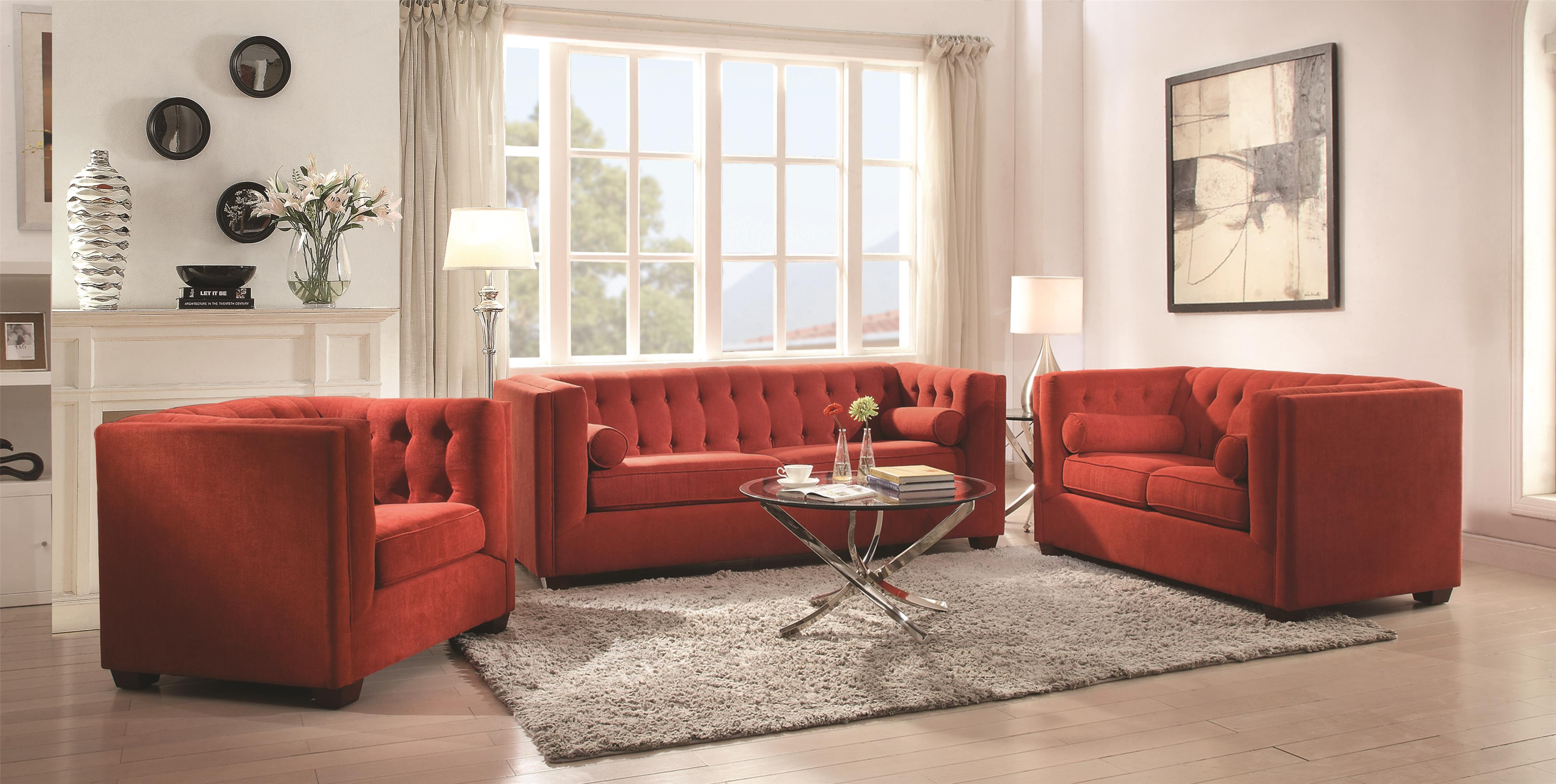 Tufted Living Room Set Coaster Cairns Stationary Sofa With Tufted Back And Lumbar Pillows