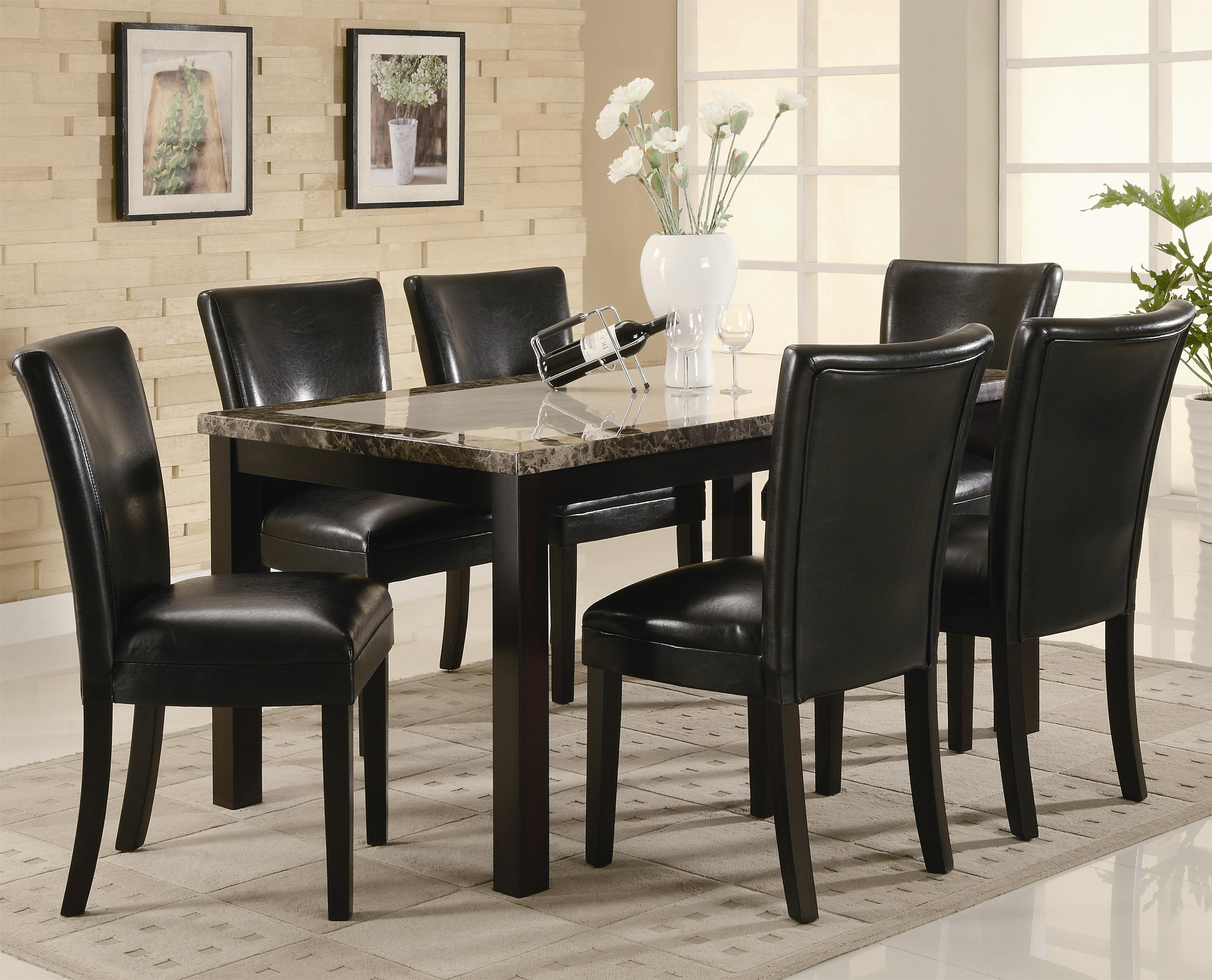 coaster carter  piece dining table set with upholstered chairs coaster fine furniture: seven piece dining set
