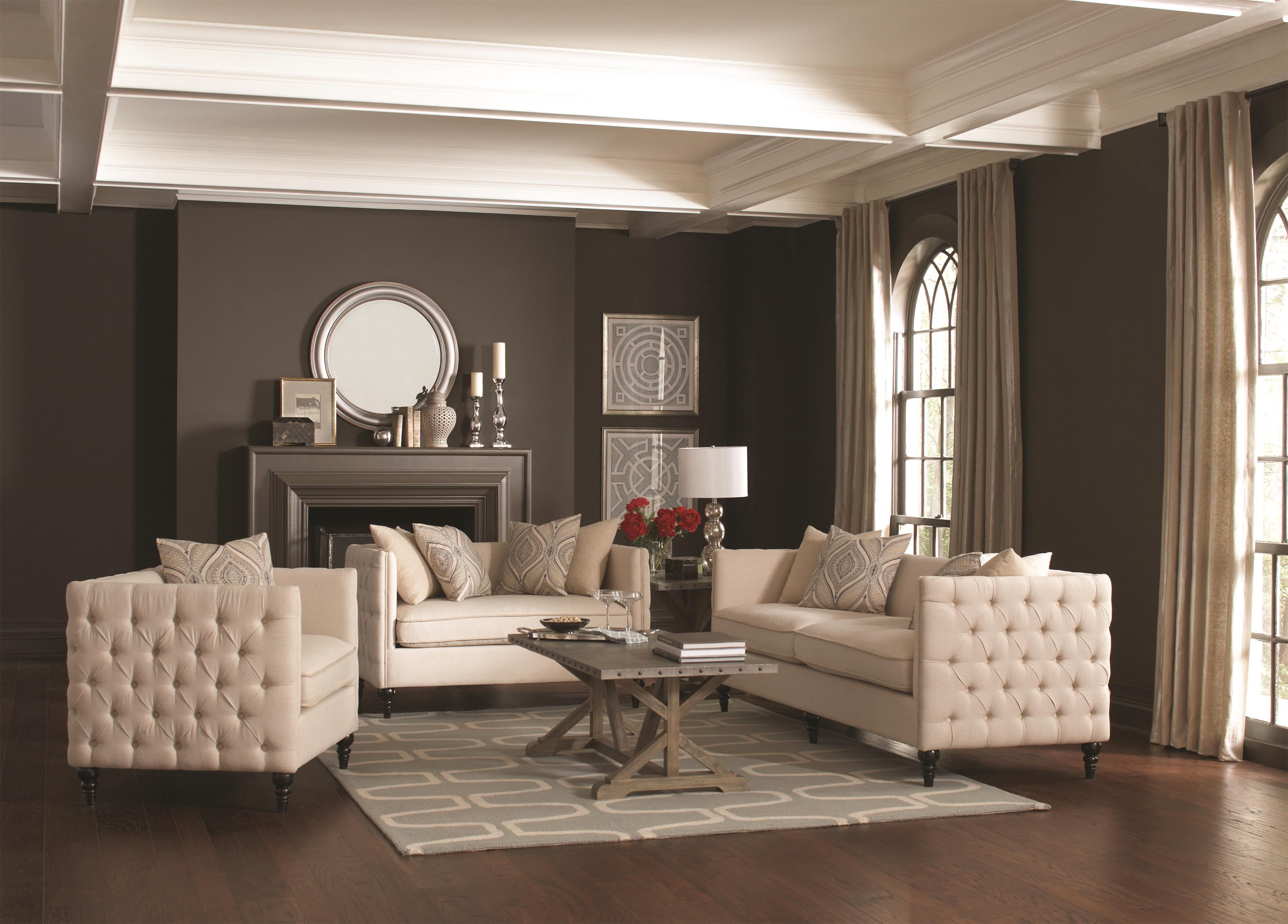Coaster claxton traditional tuxedo sofa with tufting coaster tufted living room set