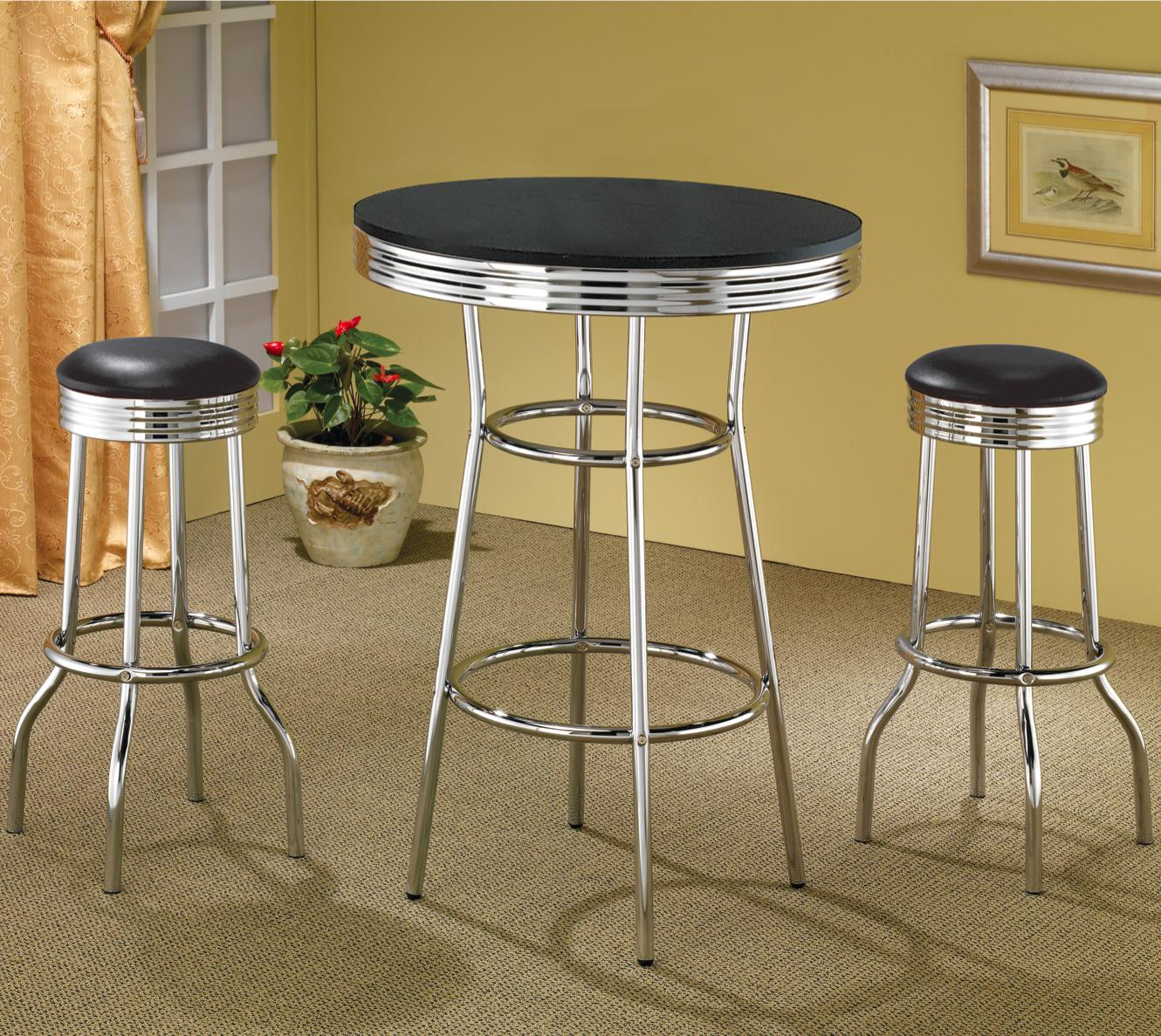 Coaster Cleveland Round Chrome Plated Dining Table - Coaster Fine ...