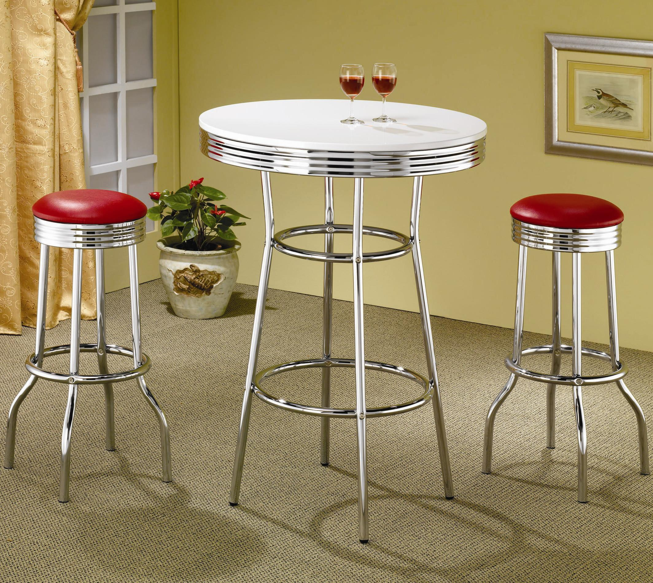 coaster cleveland round chrome plated dining table coaster fine furniture