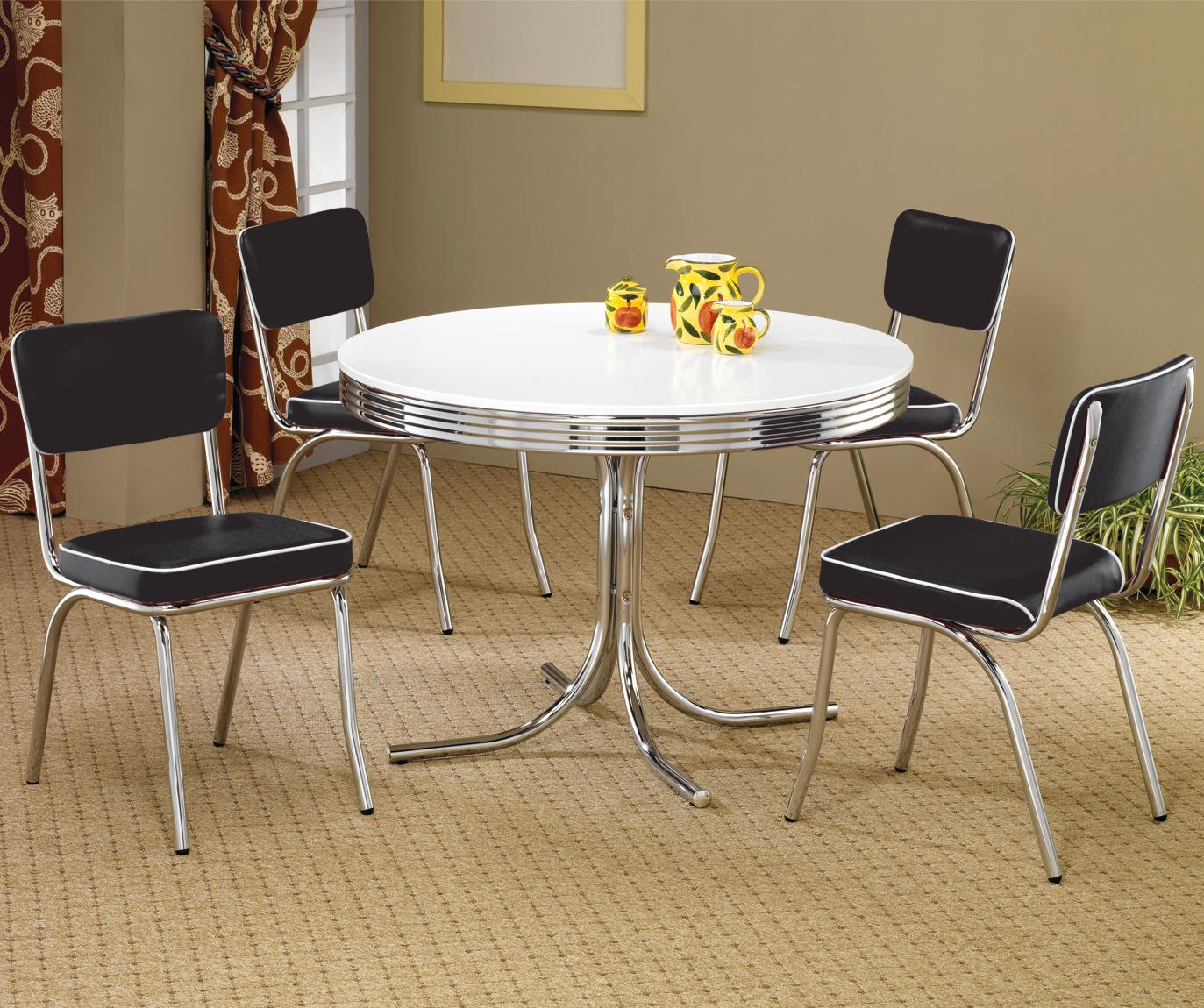 Coaster Cleveland Round Chrome Plated Dining Table - Coaster Fine Furniture & Coaster Cleveland Round Chrome Plated Dining Table - Coaster Fine ...