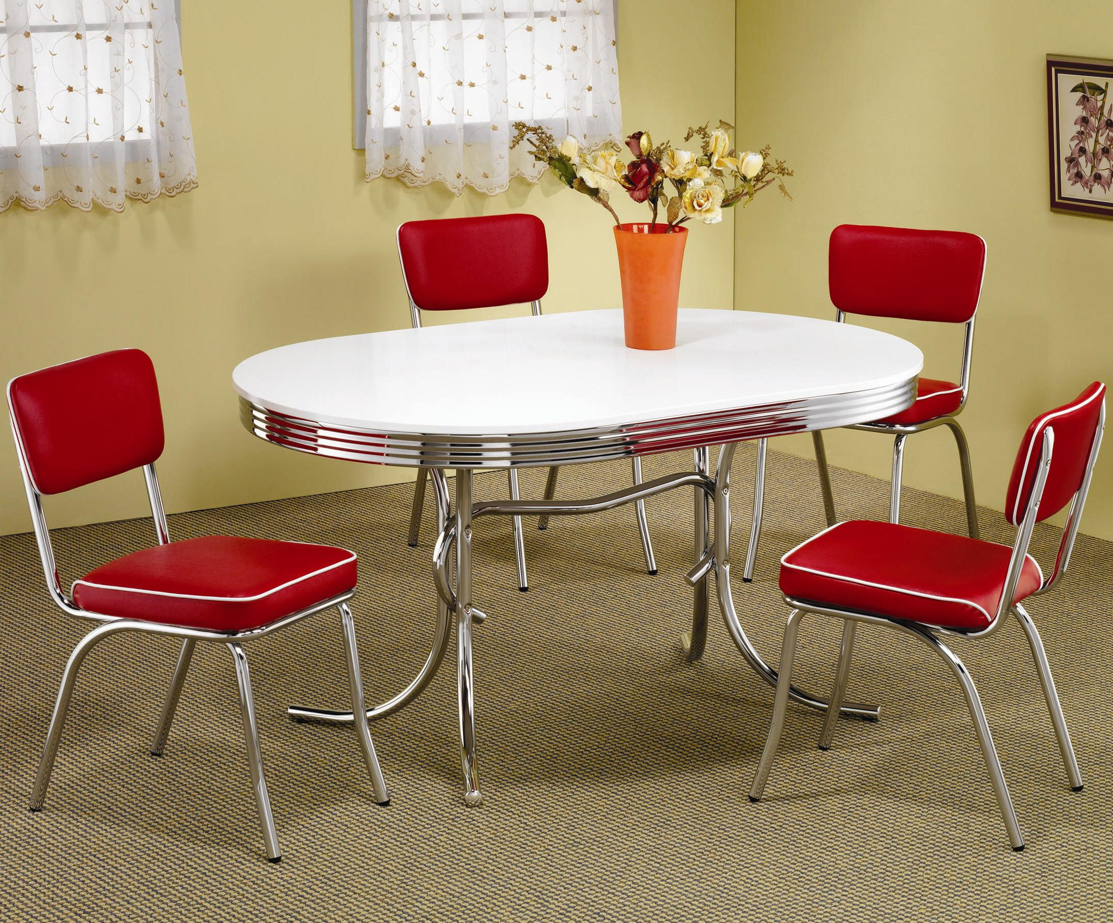 red kitchen table Coaster Cleveland Round Chrome Plated Dining Table Coaster Fine Furniture