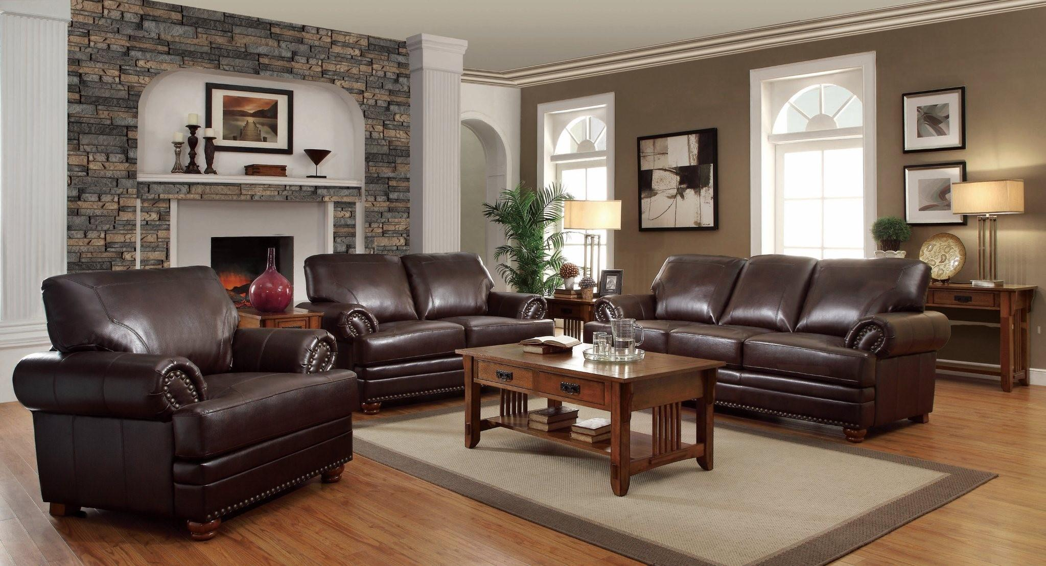 Living Room With Brown Leather Couch Coaster Colton Traditional Styled Living Room Chair With