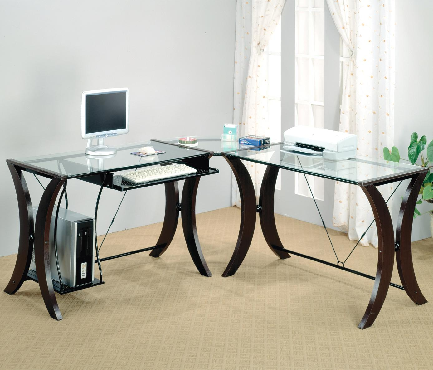 coaster division table desk with glass top  coaster fine furniture -
