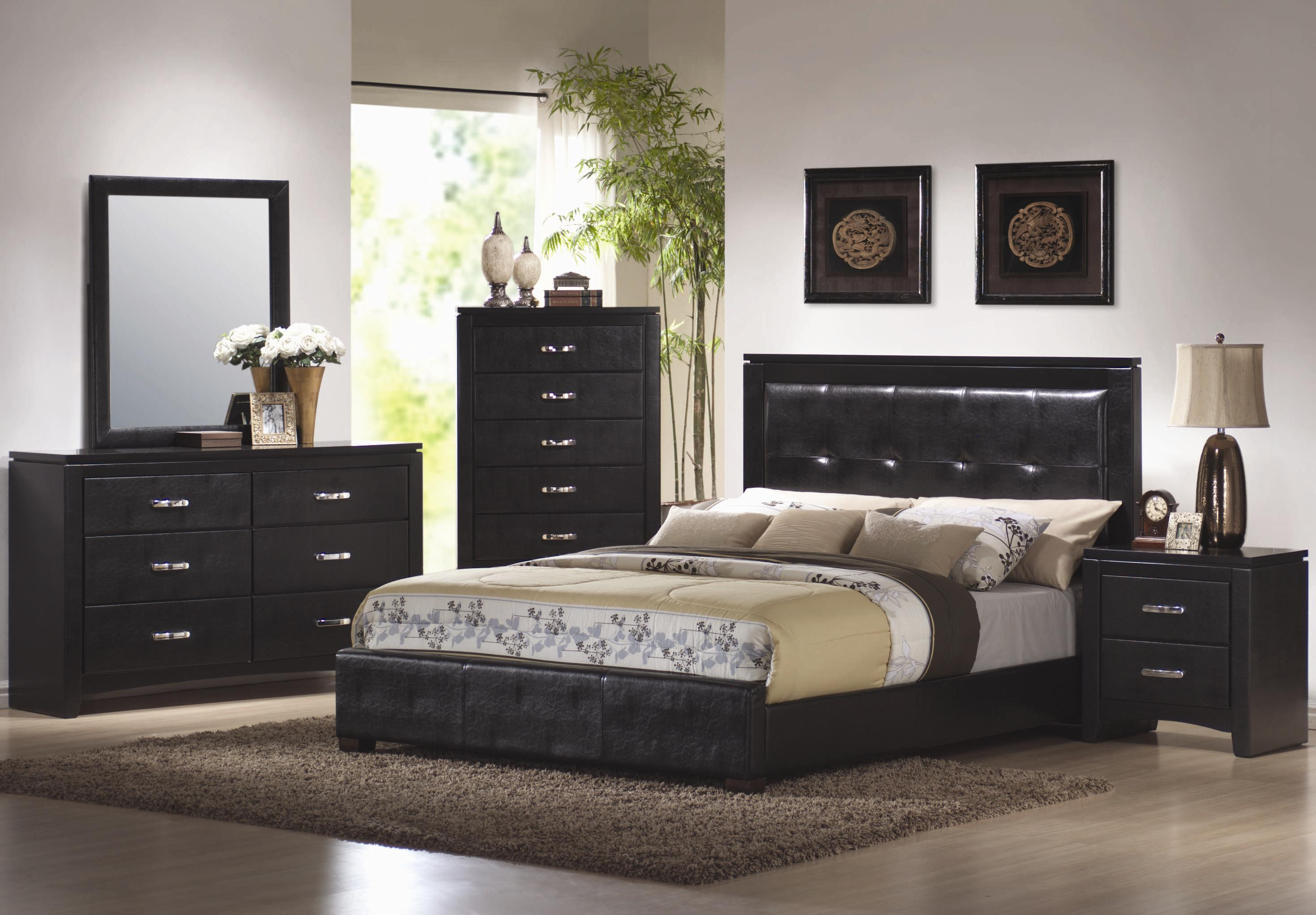 Coaster Dylan Queen Faux Leather Upholstered Low Profile Bed ...