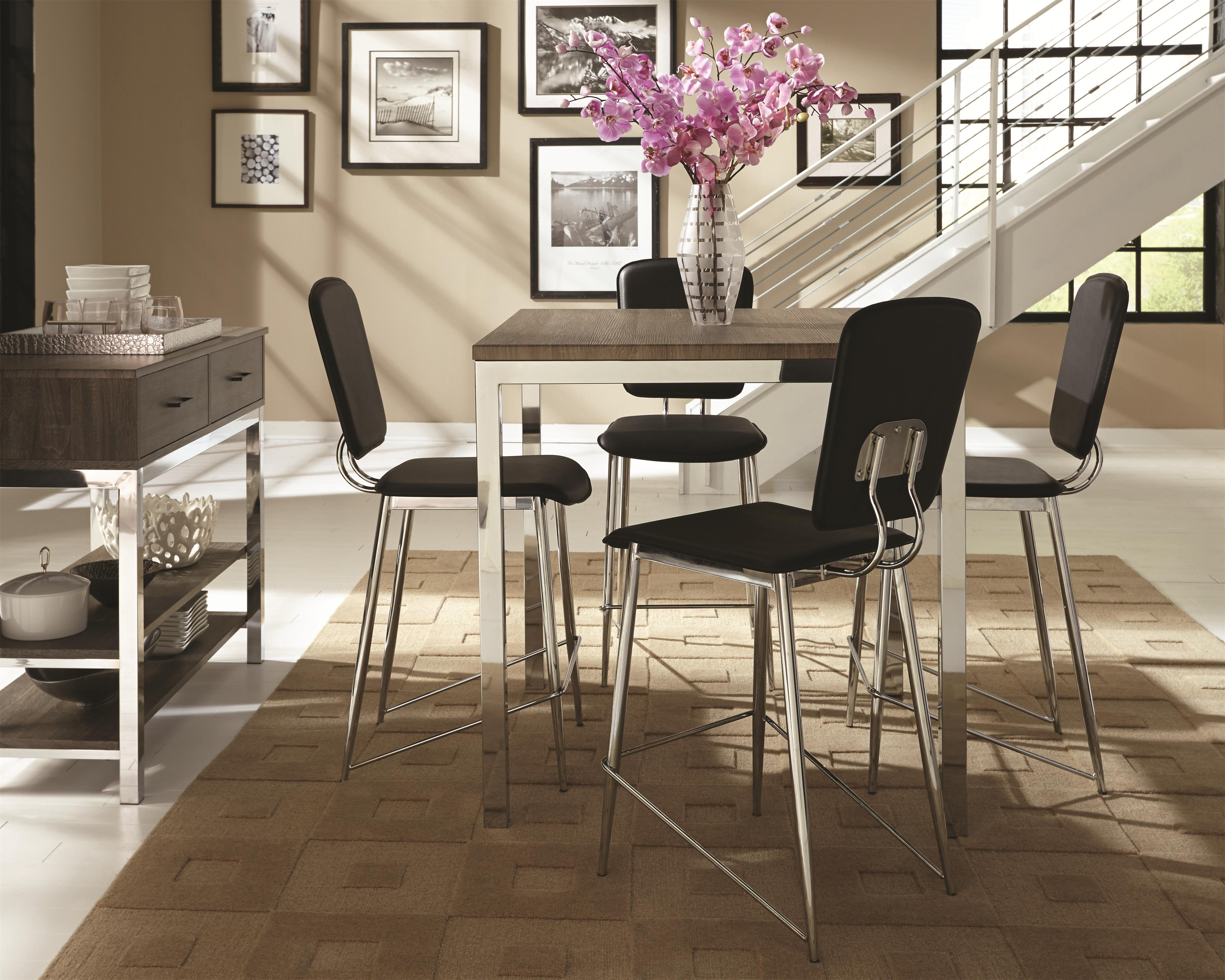 coaster eldridge casual dining table with weathered table top and