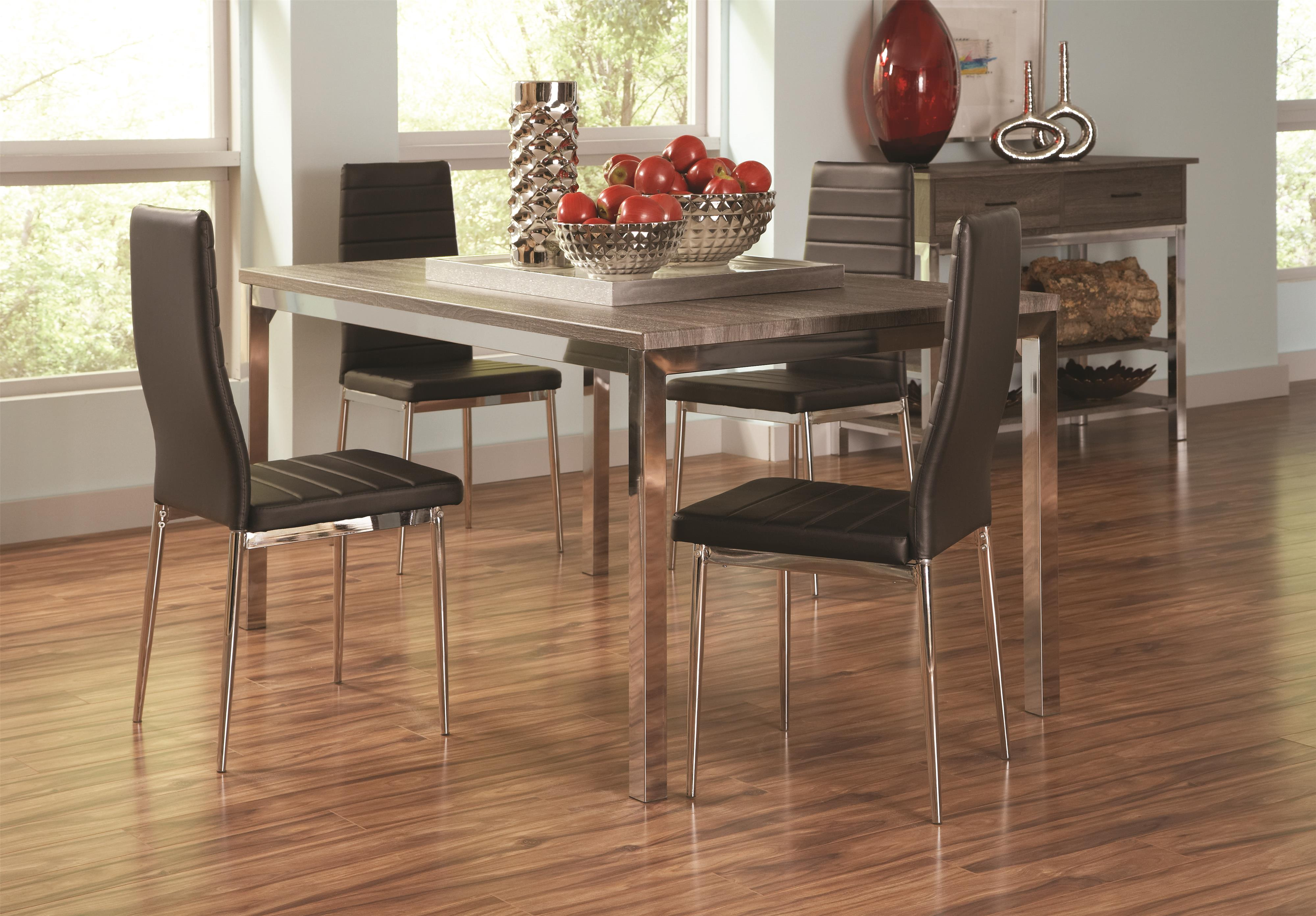 Coaster Eldridge Casual Dining Table With Weathered Top And Chrome Finished Base
