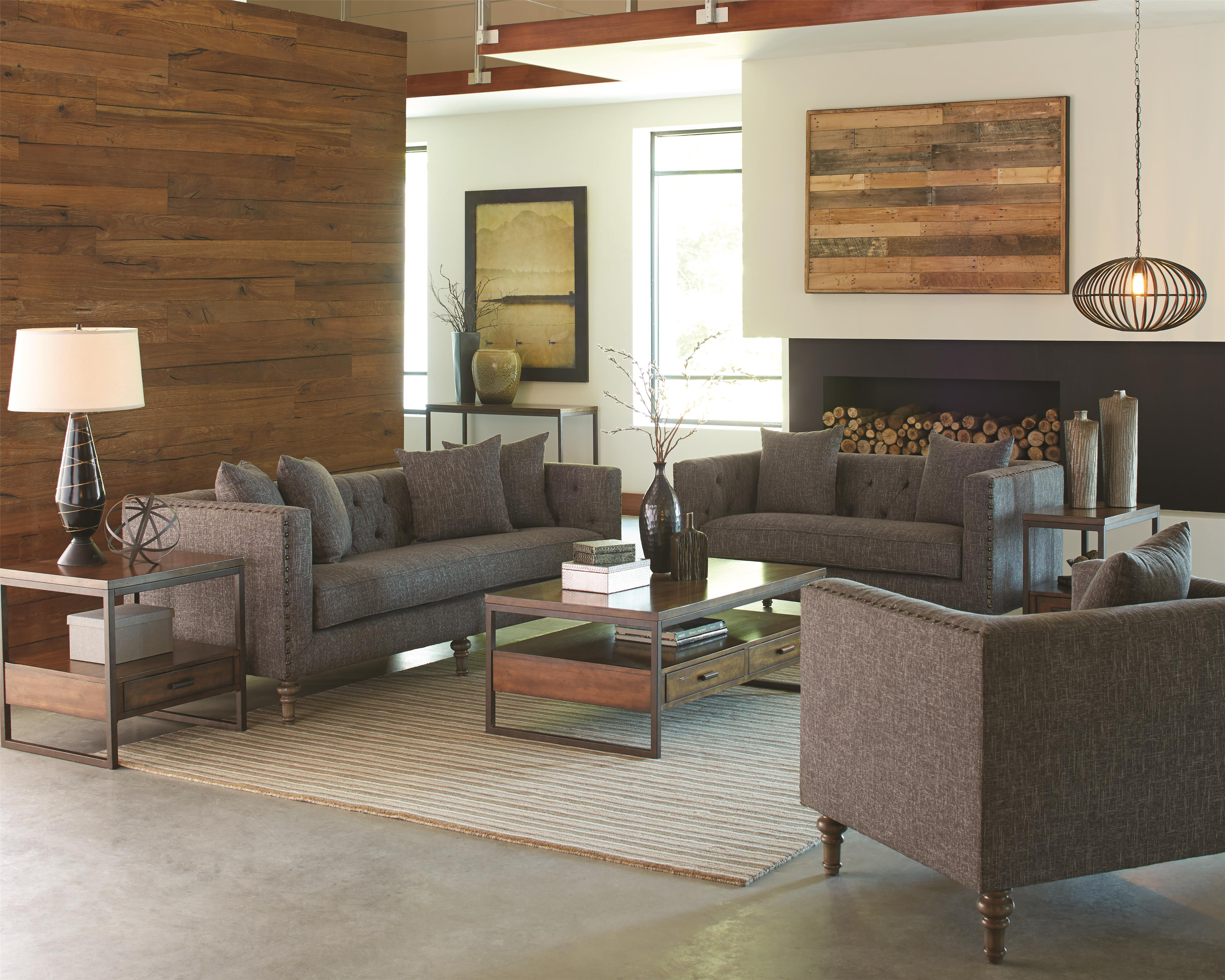 Coaster Ellery Sofa With Traditional Industrial Style   Coaster Fine  Furniture
