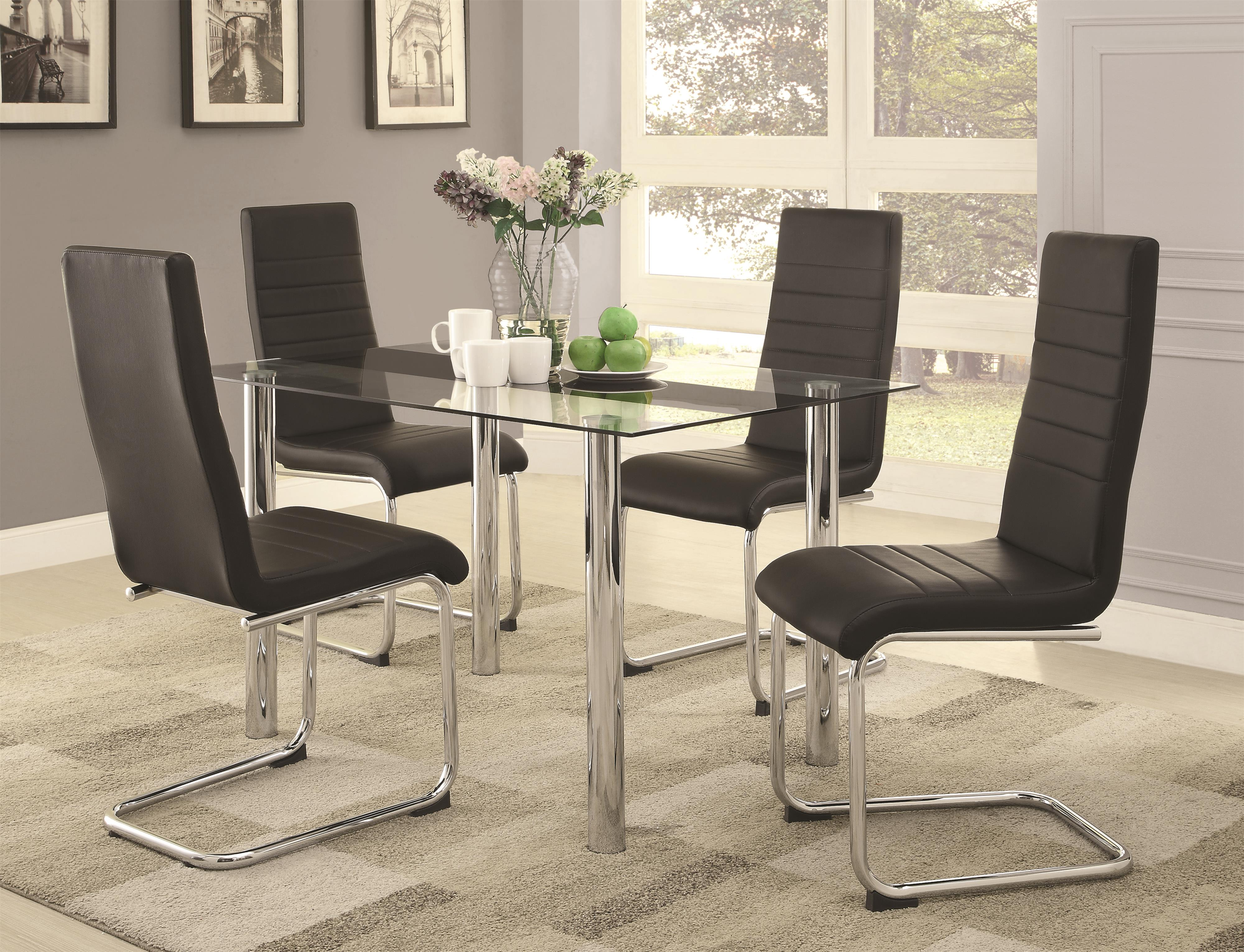 Glass dining table and chairs - Coaster Geneva Contemporary Glass Dining Table Coaster Fine Furniture
