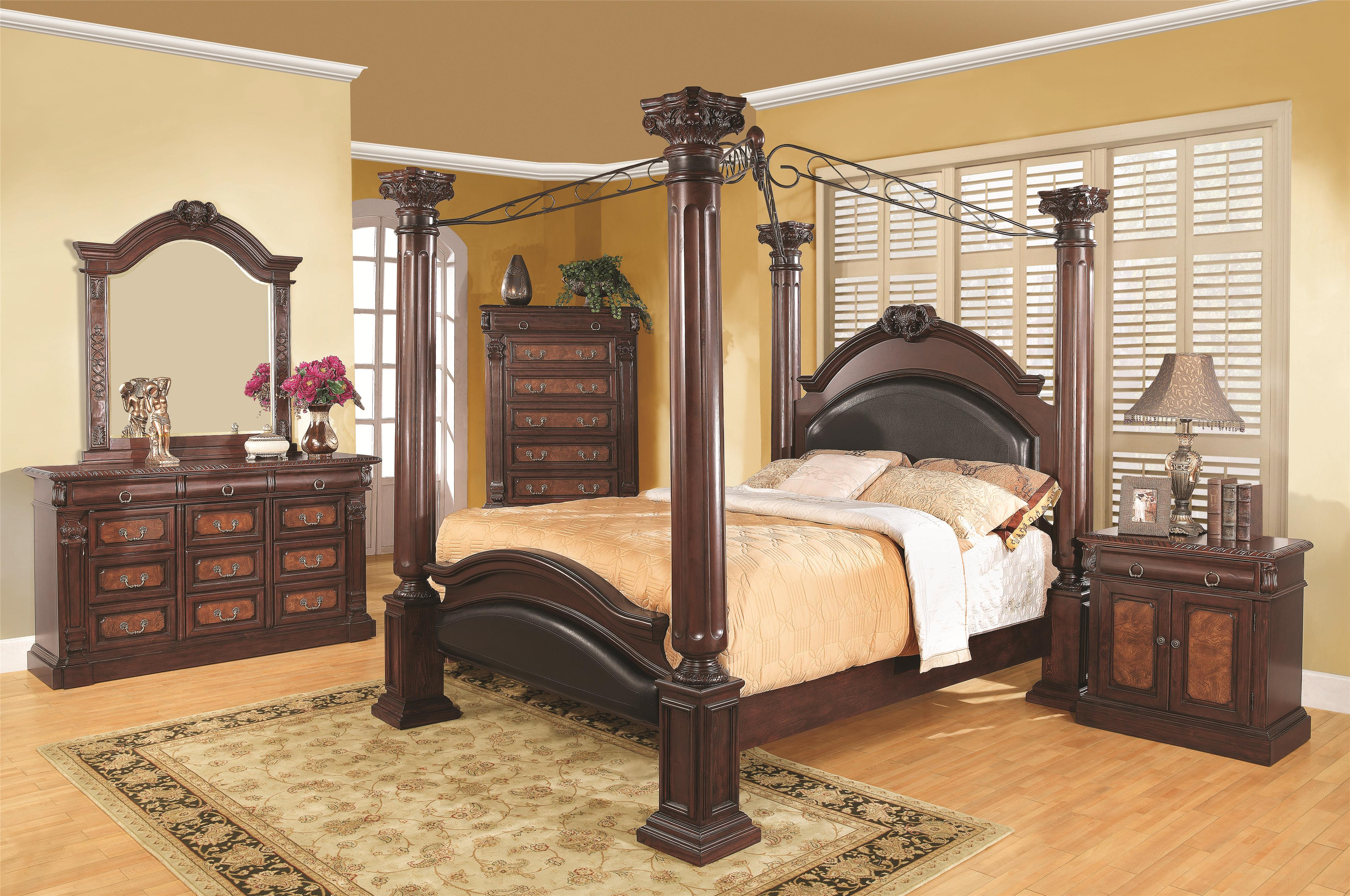 Coaster Grand Prado King Poster Bed w/ Upholstered Panels ...