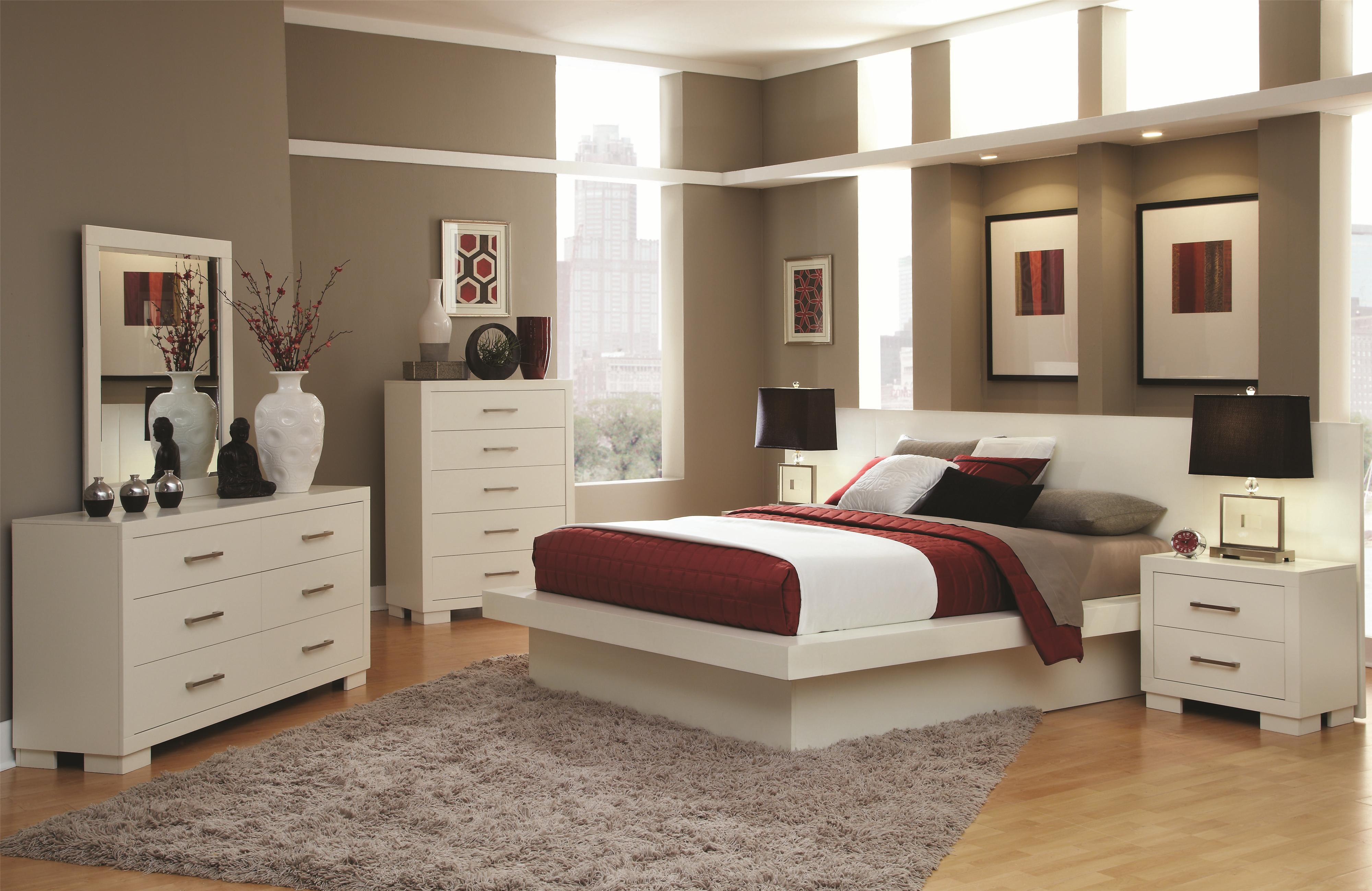 Platform Bedroom Sets Queen coaster jessica queen platform bed with rail seating and lights
