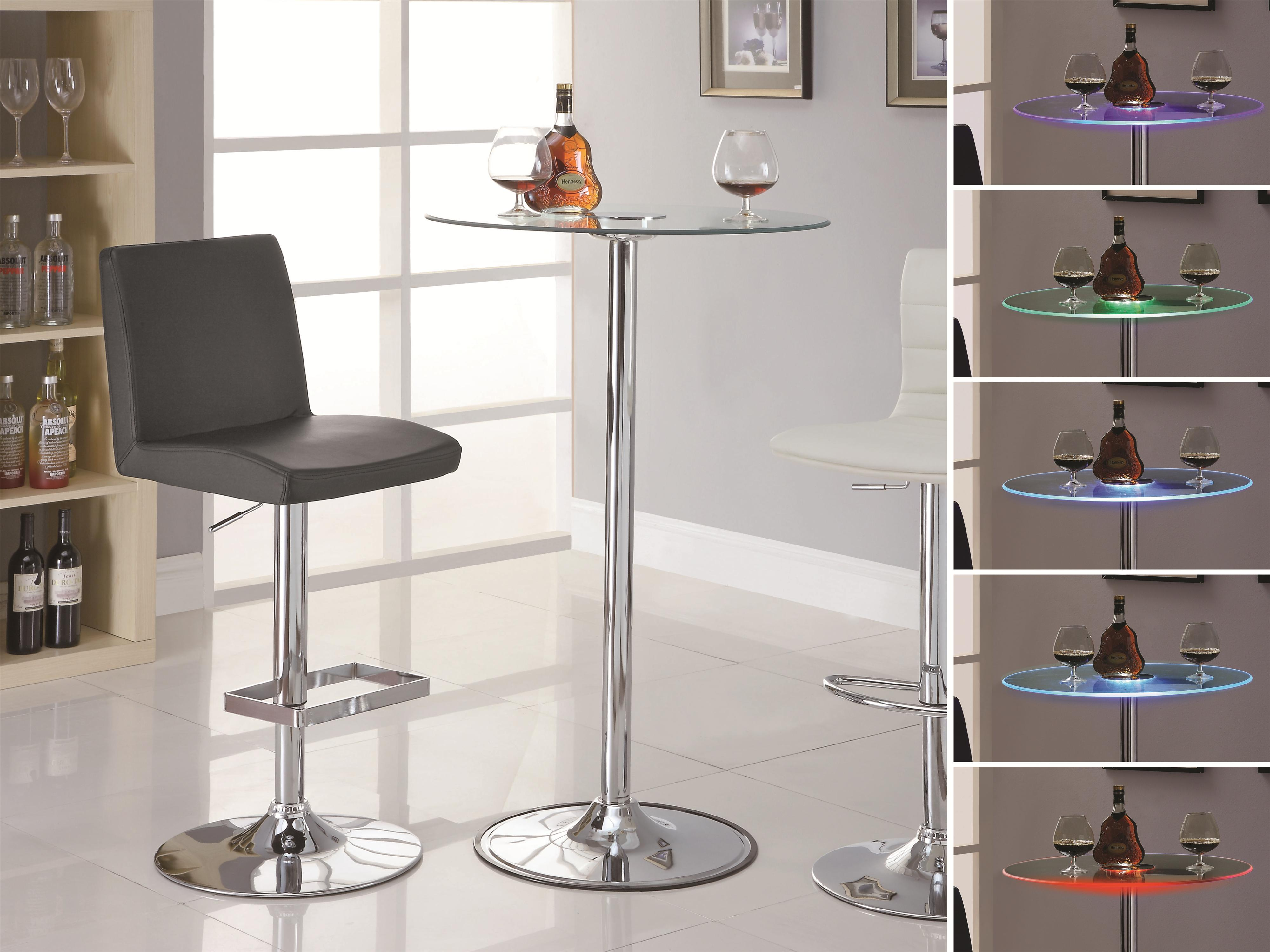 Coaster LED 42u201d Transitioning LED Bar Table With Chrome Base   Coaster Fine  Furniture