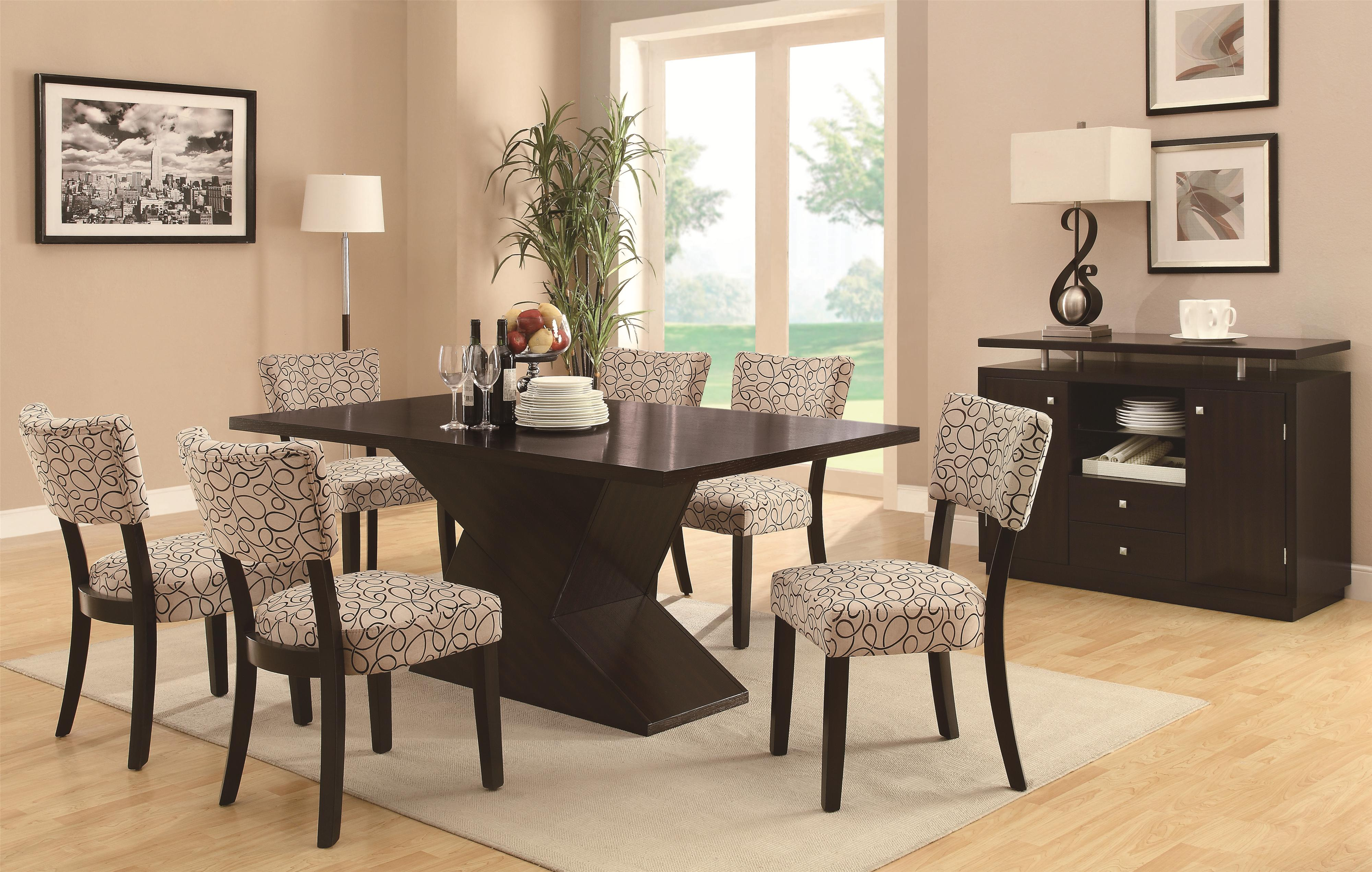 Coaster Libby 7 Piece Floating Top Table U0026 Upholstered Side Chairs Set    Coaster Fine Furniture