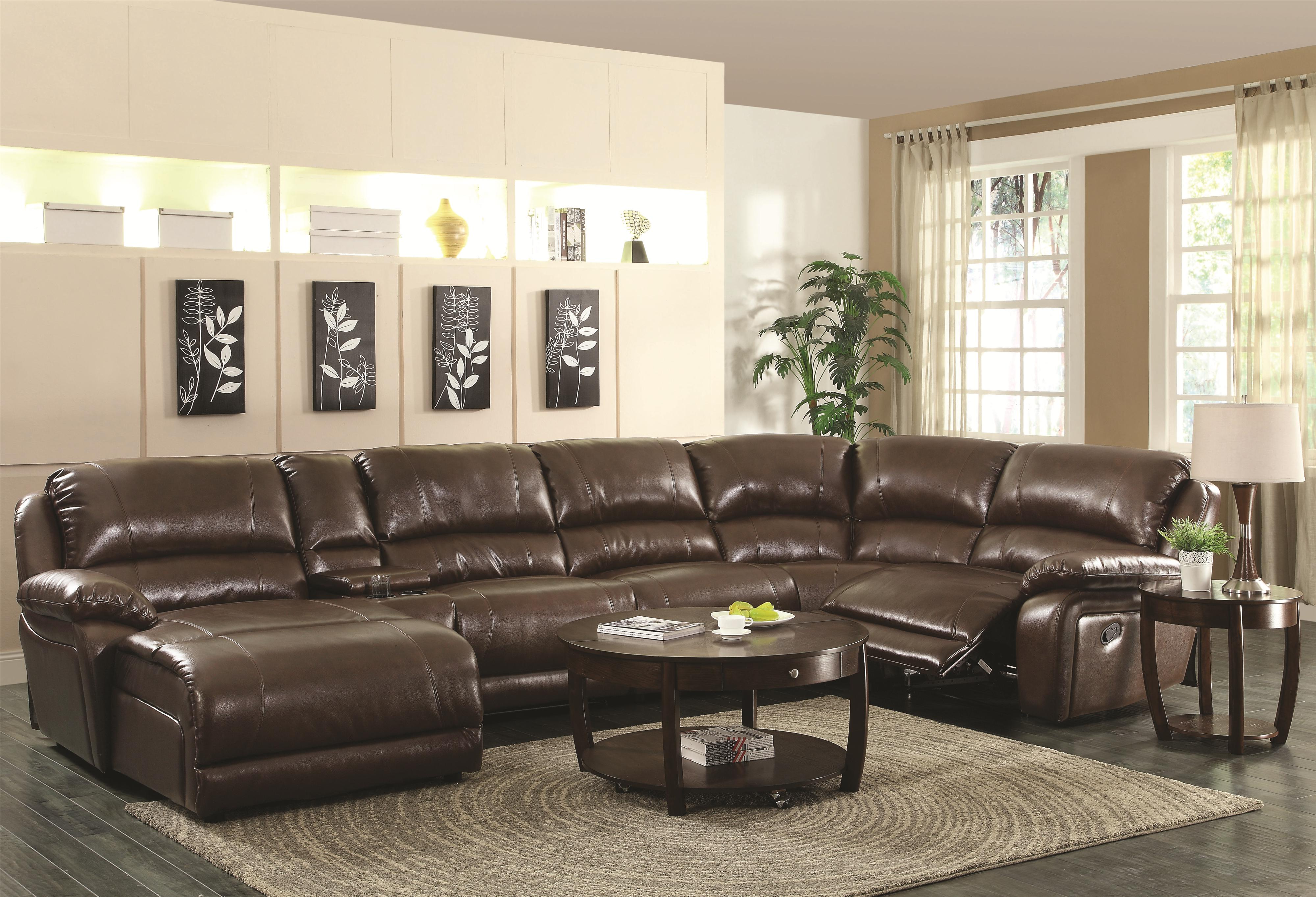Coaster Mackenzie Chestnut 6-Piece Reclining Sectional Sofa with Casual Style - Coaster Fine Furniture : reclining sectional sofas with chaise - Sectionals, Sofas & Couches