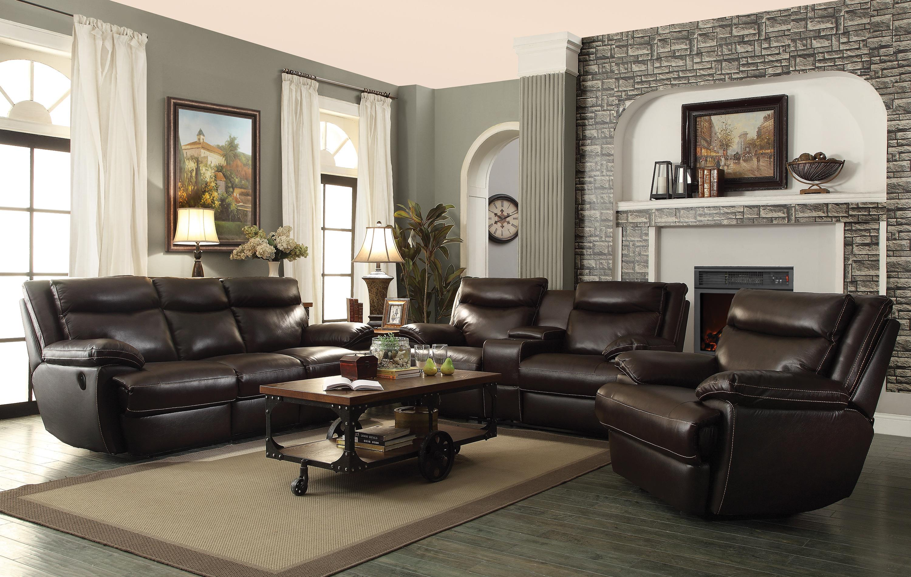Coaster MacPherson Casual Leather Match Reclining Sofa Coaster