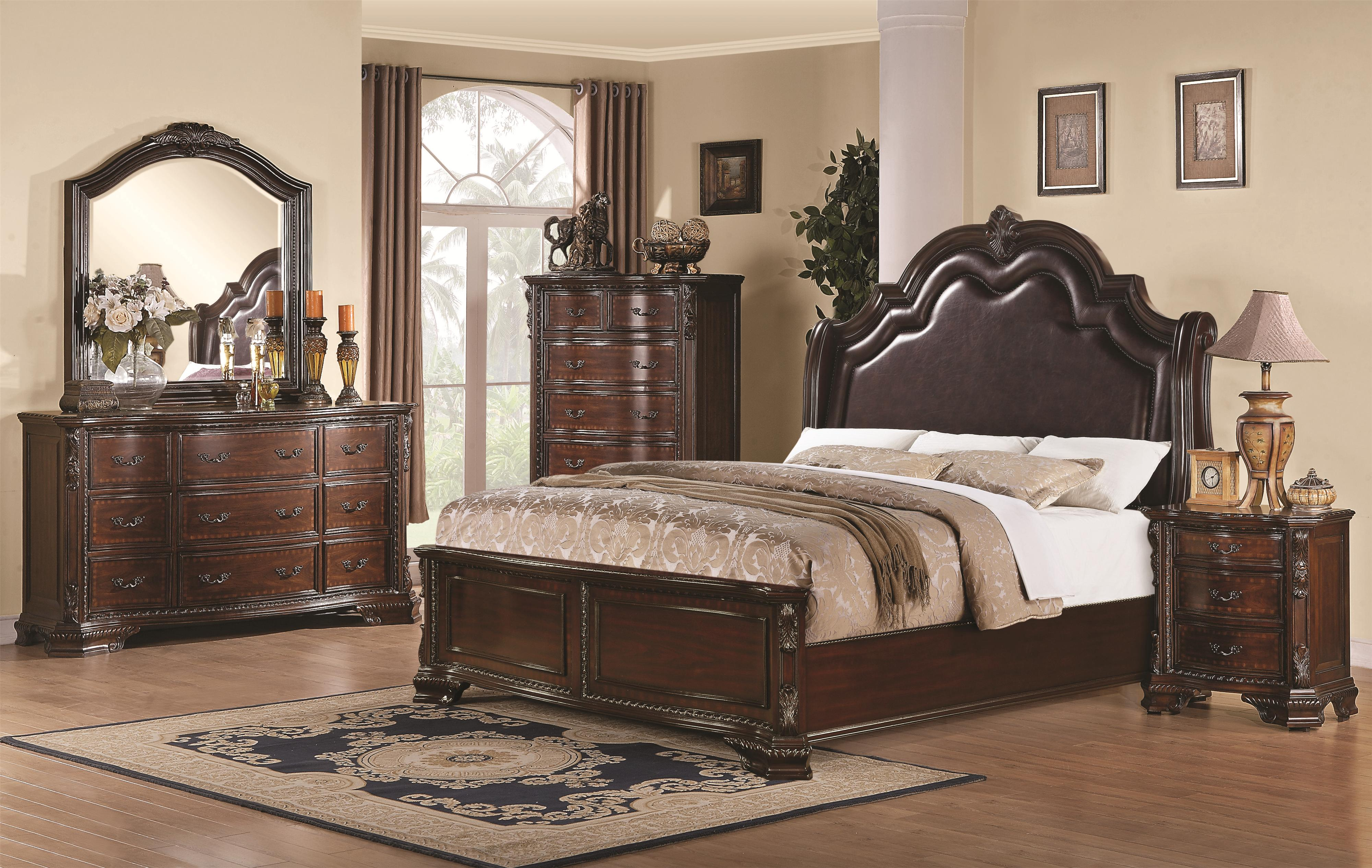 King Bedroom Furniture Coaster Maddison King Sleigh Bed With Upholstered Headboard