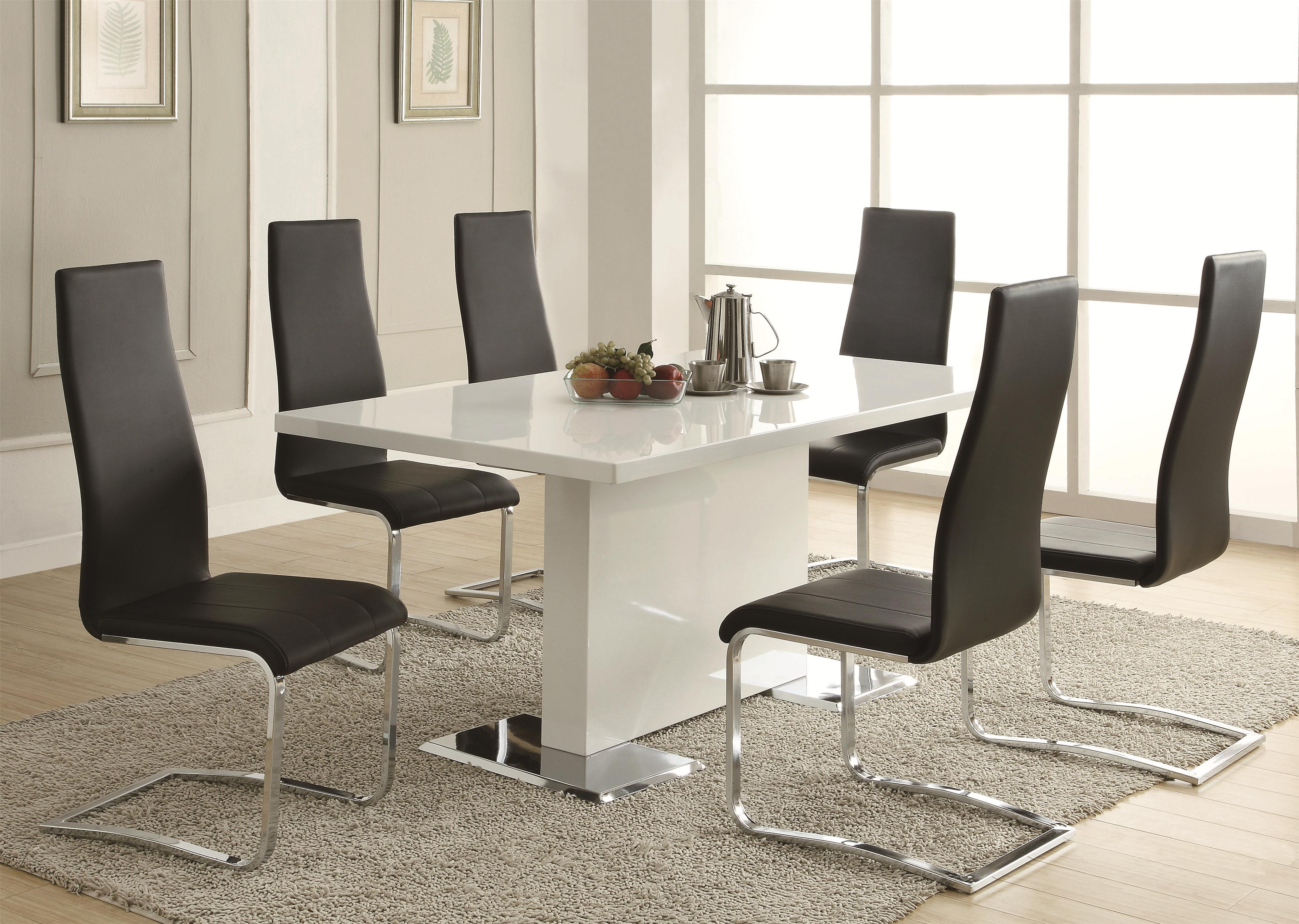 Coaster Modern Dining 7 Piece White Table u0026 White Upholstered Chairs Set - Coaster Fine Furniture & Coaster Modern Dining 7 Piece White Table u0026 White Upholstered Chairs ...