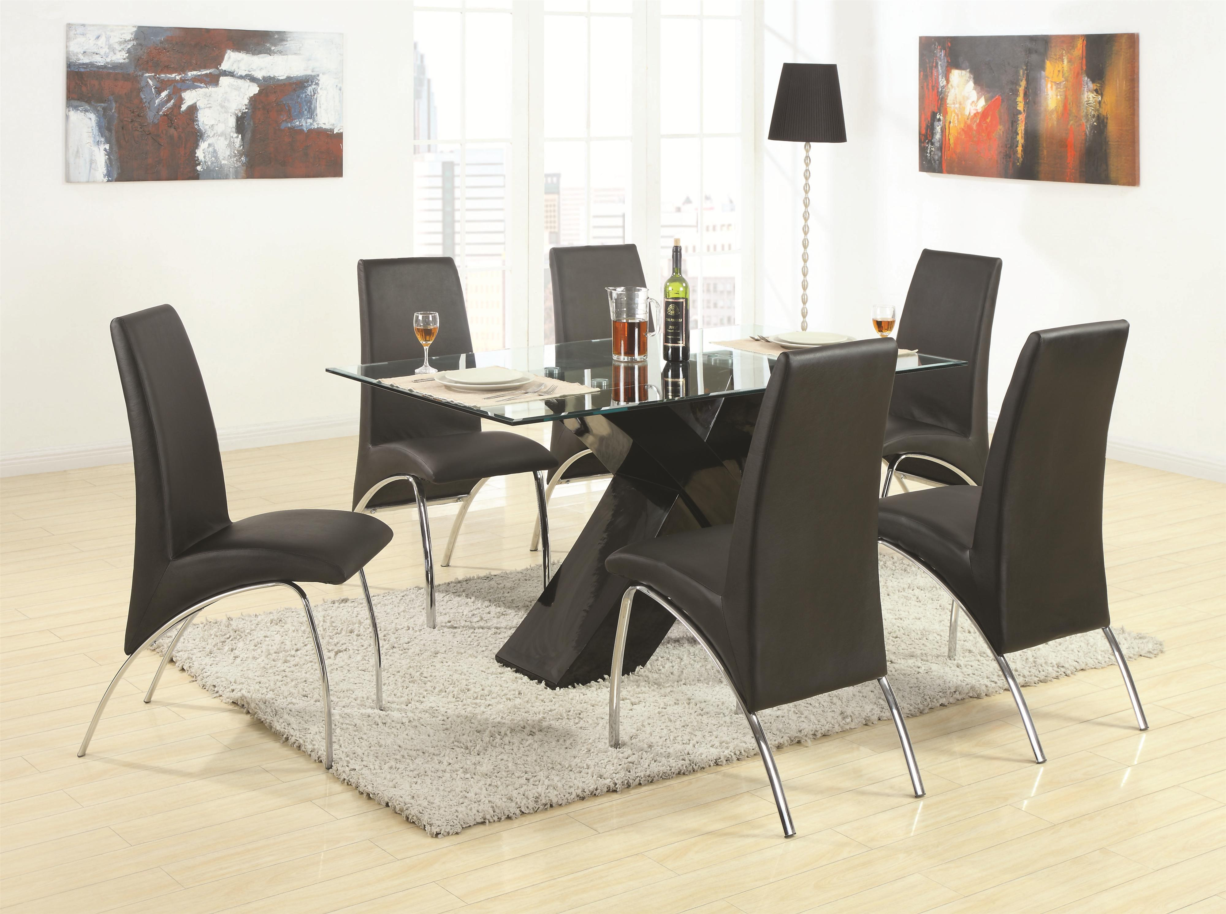 coaster ophelia contemporary leatherette and metal dining chair