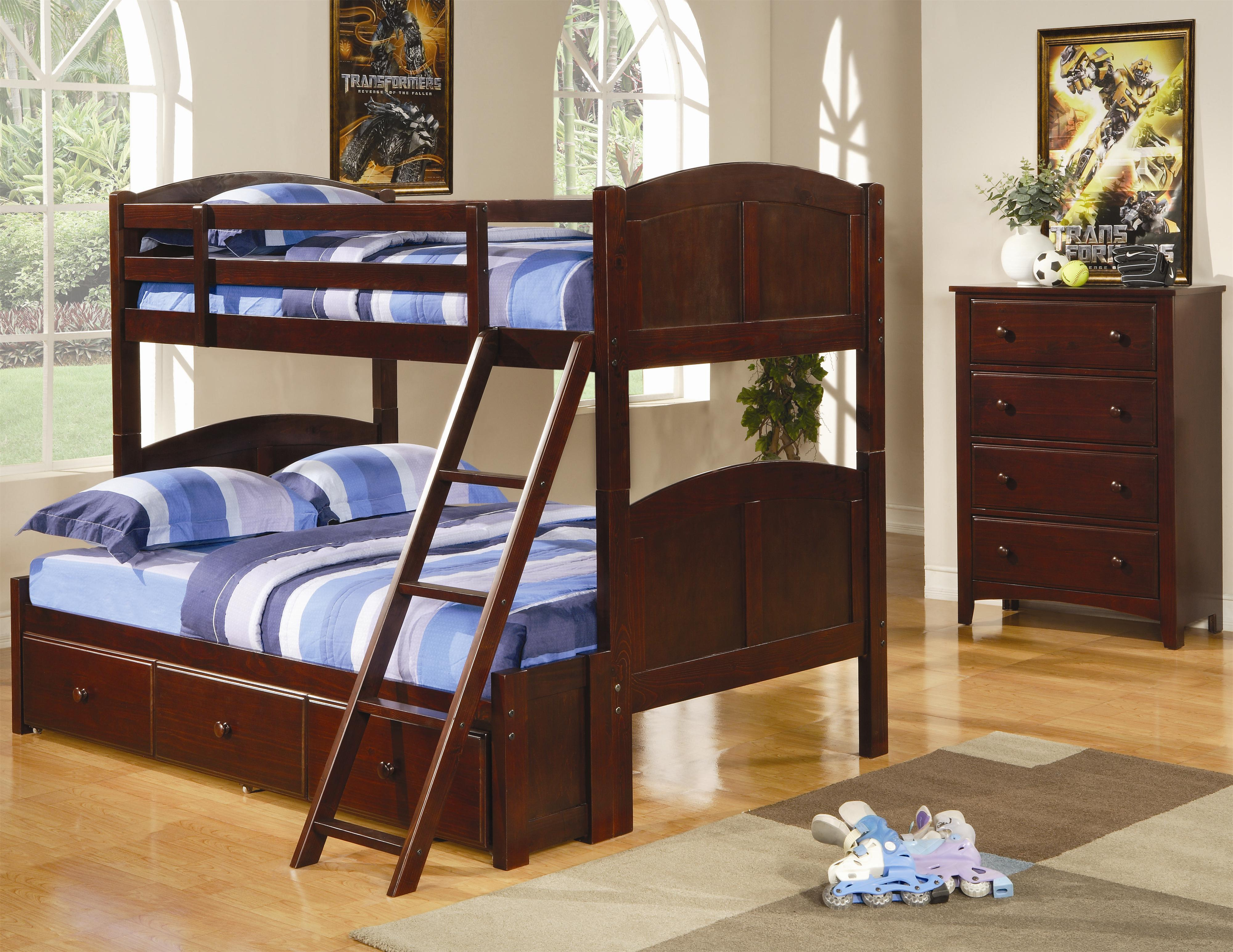 Coaster Parker Twin Over Full Panel Bunk Bed with Under Bed