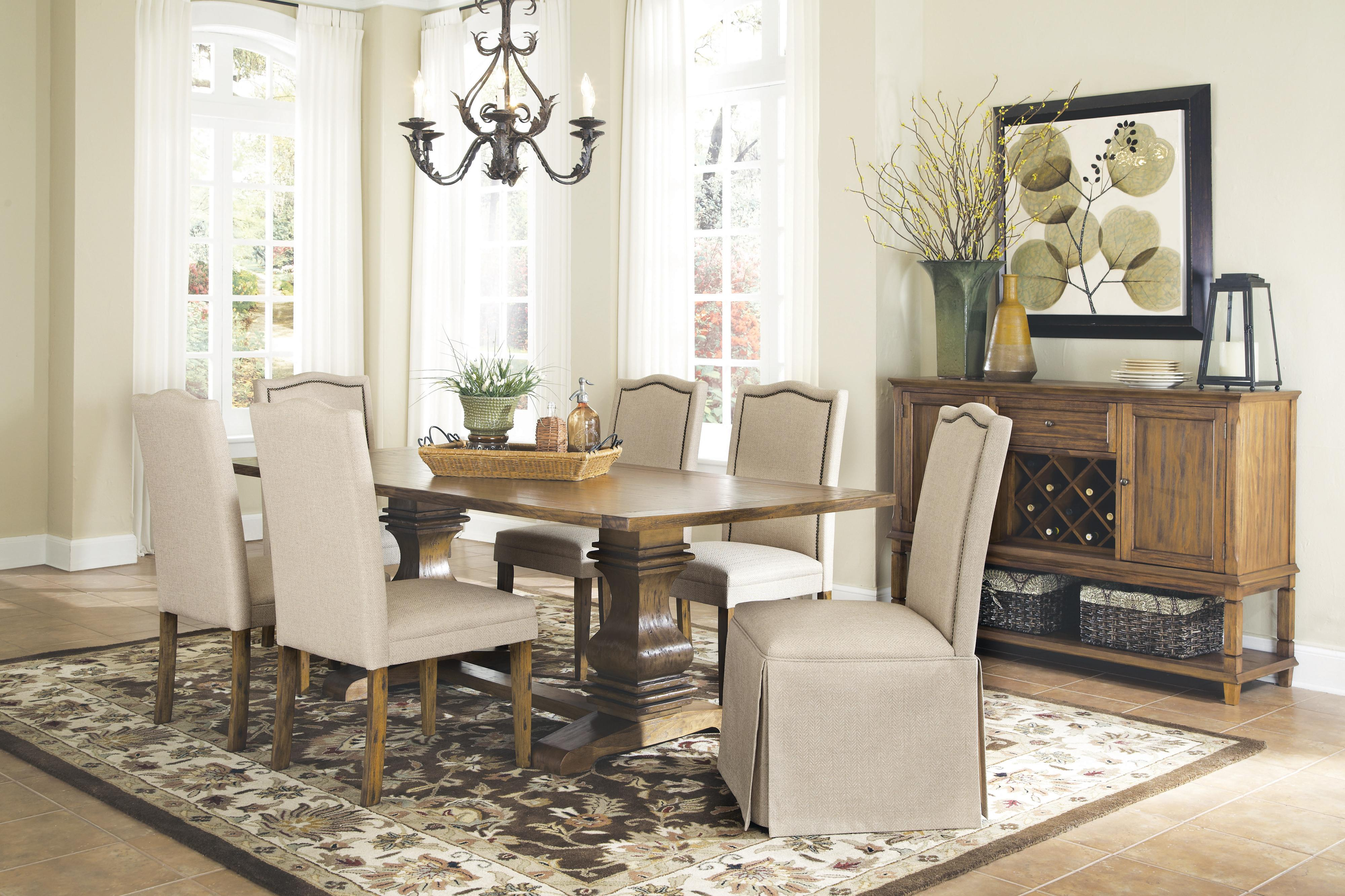 coaster parkins 7 piece dining table and parson skirted chair set