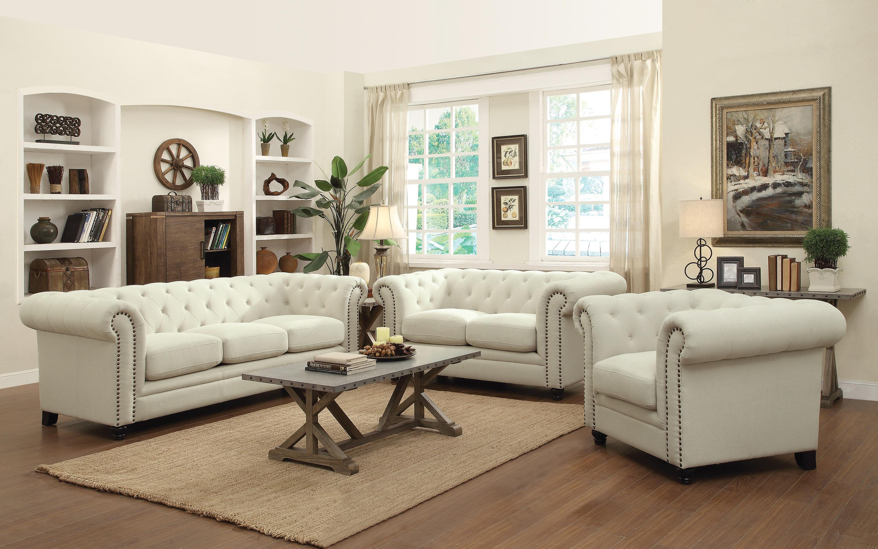 Coaster Roy Traditional Button Tufted Love Seat With Rolled Back And Arms
