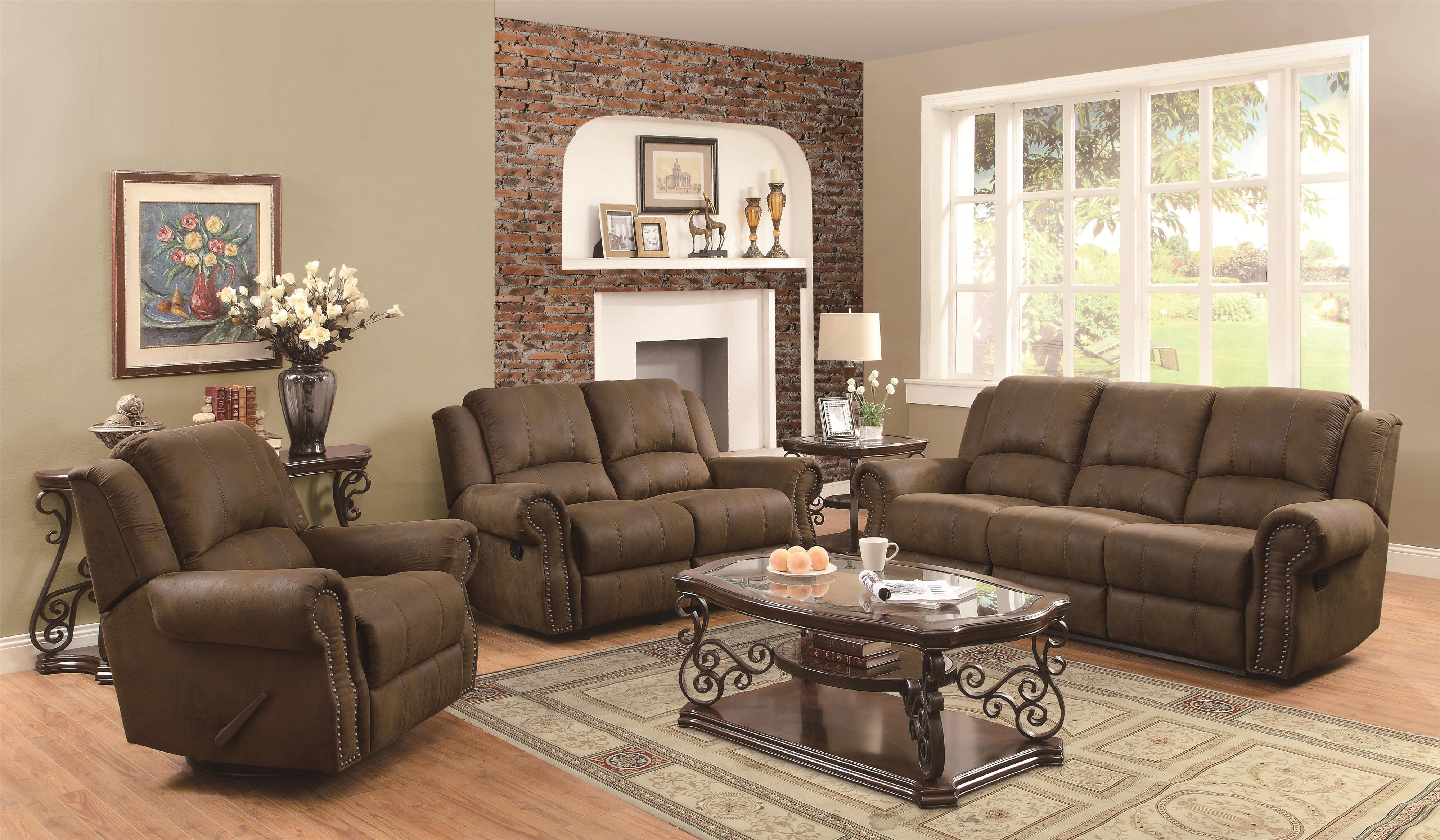 Coaster Sir Rawlinson Traditional Reclining Sofa With Nailhead Studs    Coaster Fine Furniture
