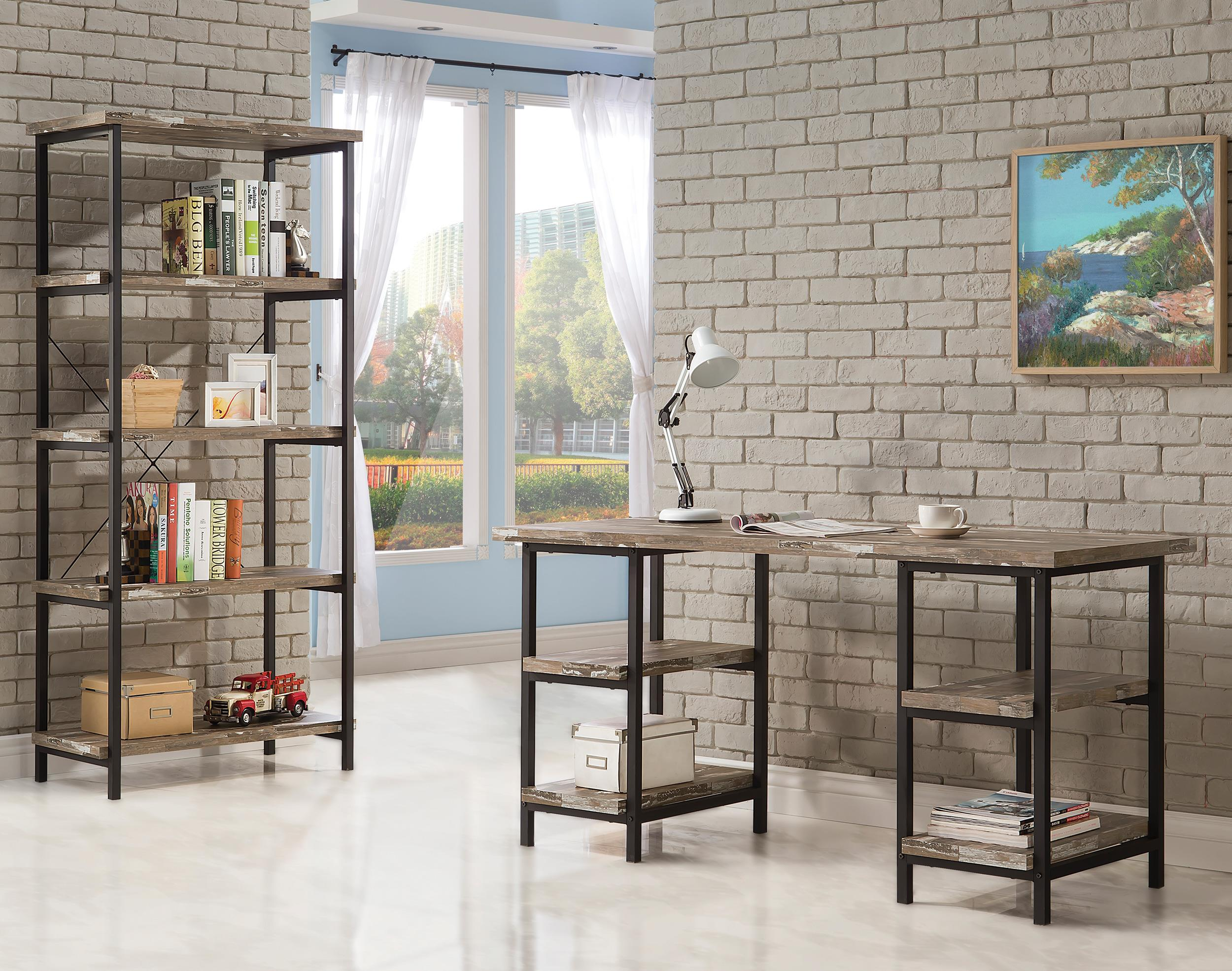 modern rustic office. Coaster Skelton Modern Rustic Writing Desk With Metal Frame And Distressed Finish Top \u0026 Shelves - Fine Furniture Office