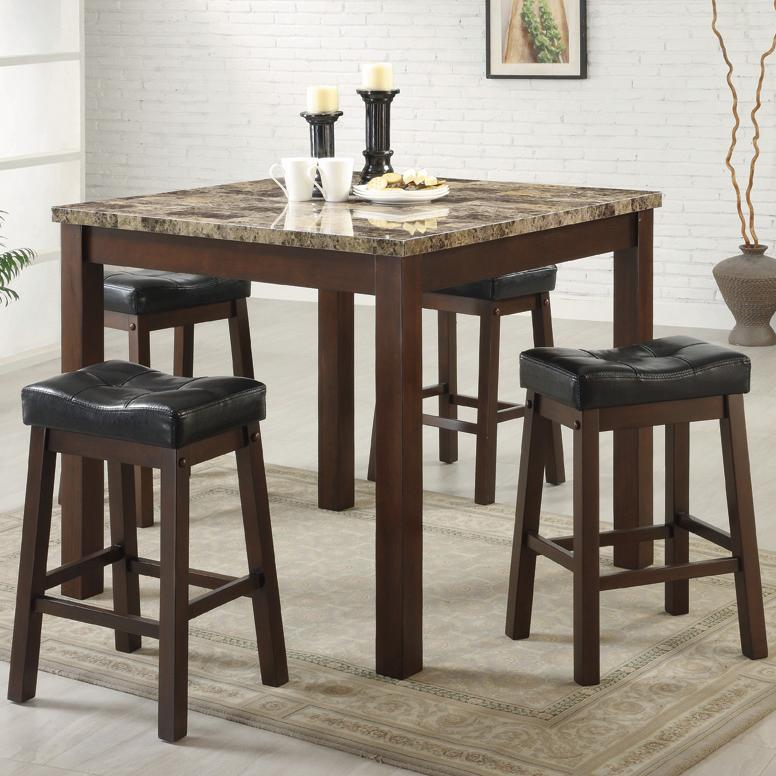 Coaster Sofie 5 Piece Marble Look Counter Height Dining Set ...