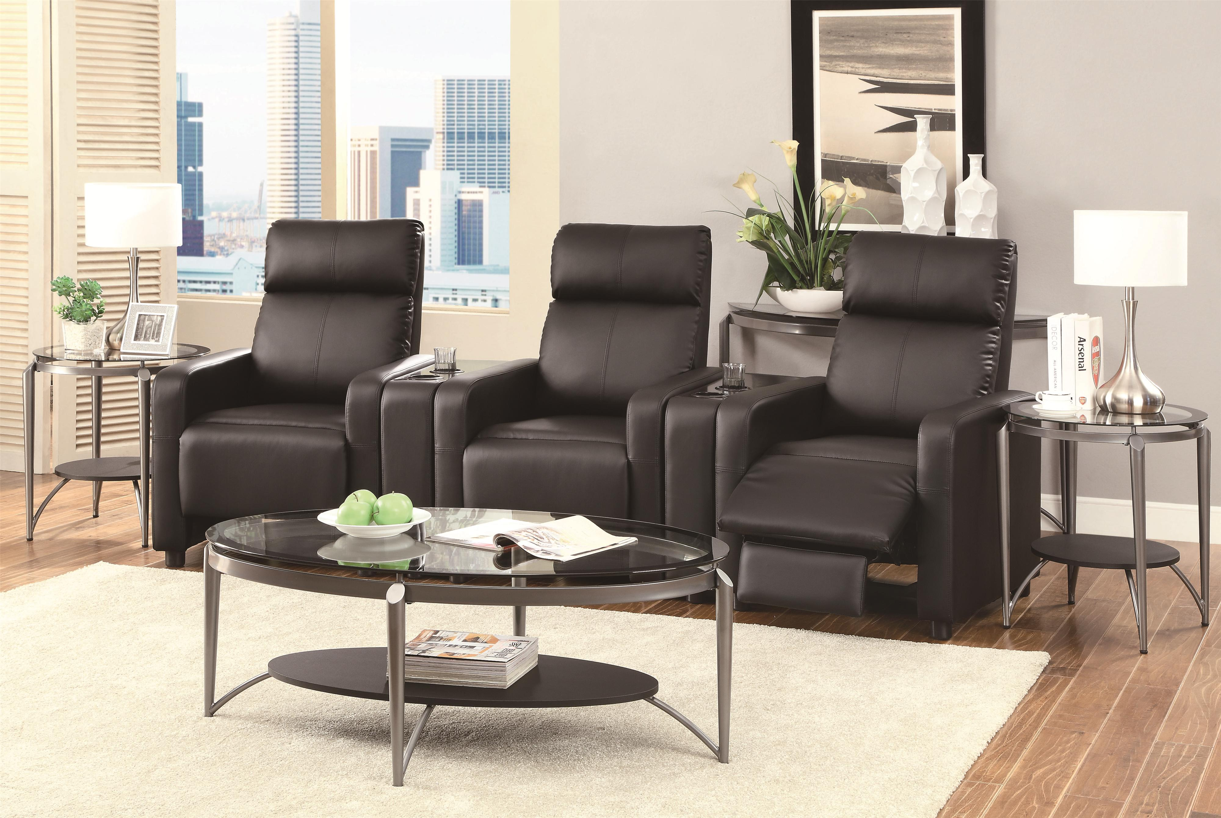 Coaster Toohey Contemporary Five Piece Reclining Home Theater Seating With  Console Tables Coaster Fine FurnitureCoaster Toohey