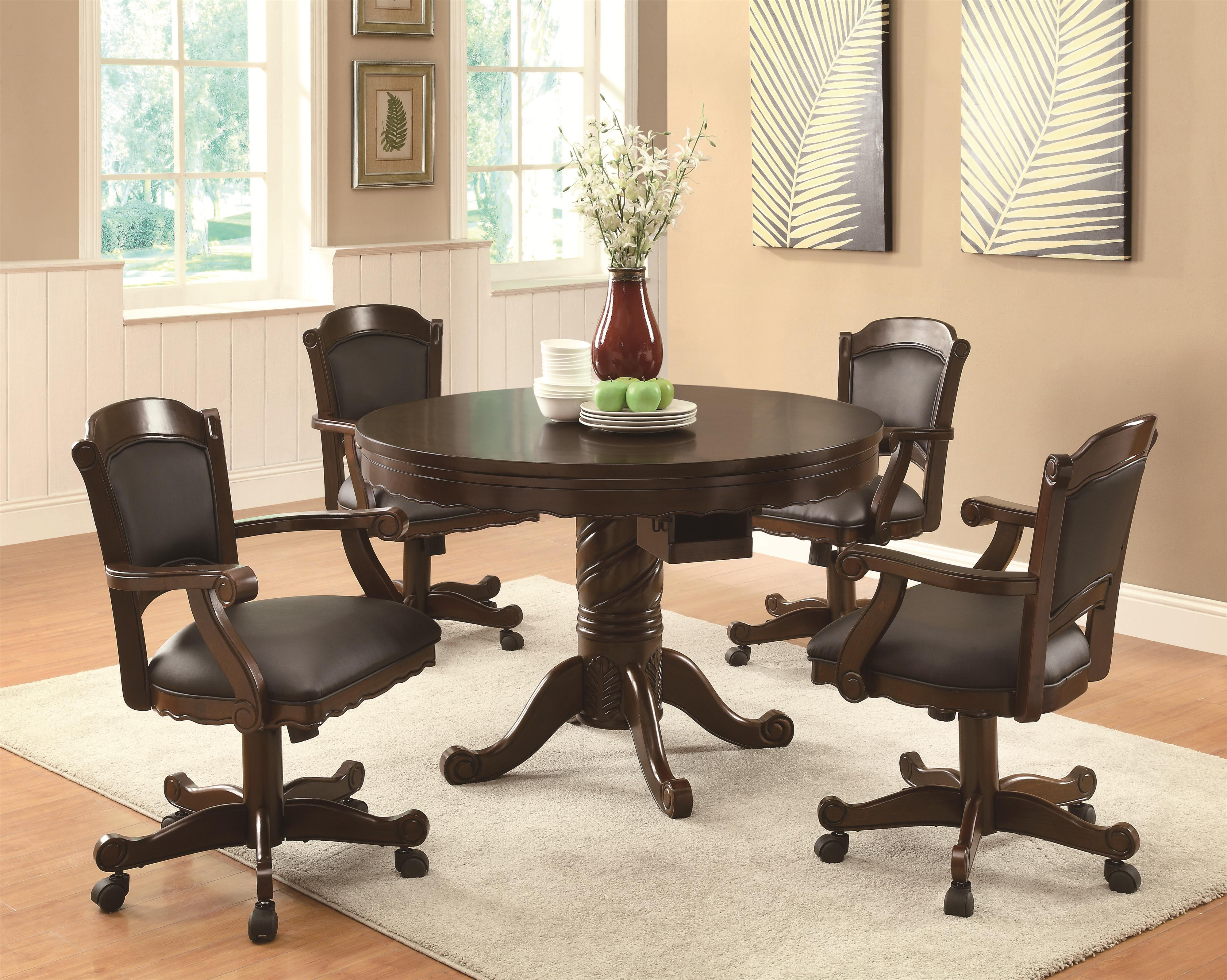 Game Table And Chairs Set Coaster Turk 3 In 1 Round Pedestal Game Table Coaster Fine Furniture