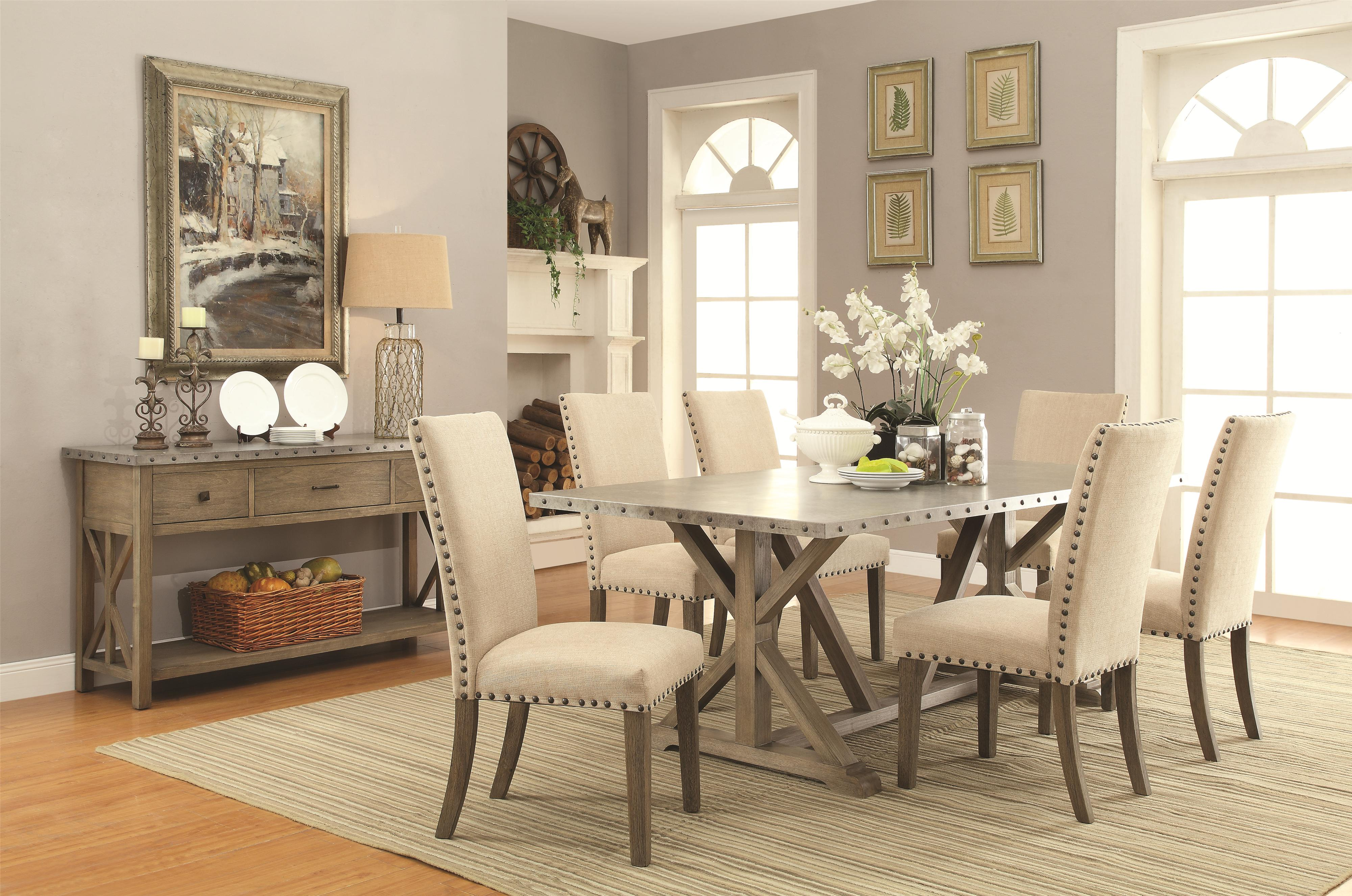 Transitional Style Living Room Furniture Coaster Webber 7 Piece Transitional Style Table And Chair Set With