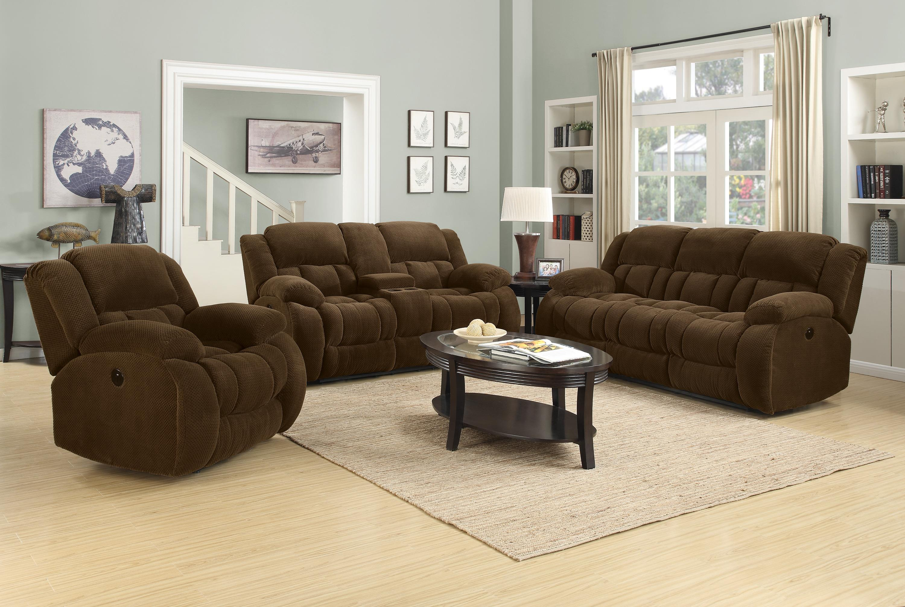 Reclining Living Room Furniture Sets Coaster Weissman Casual Pillow Padded Reclining Sofa Coaster