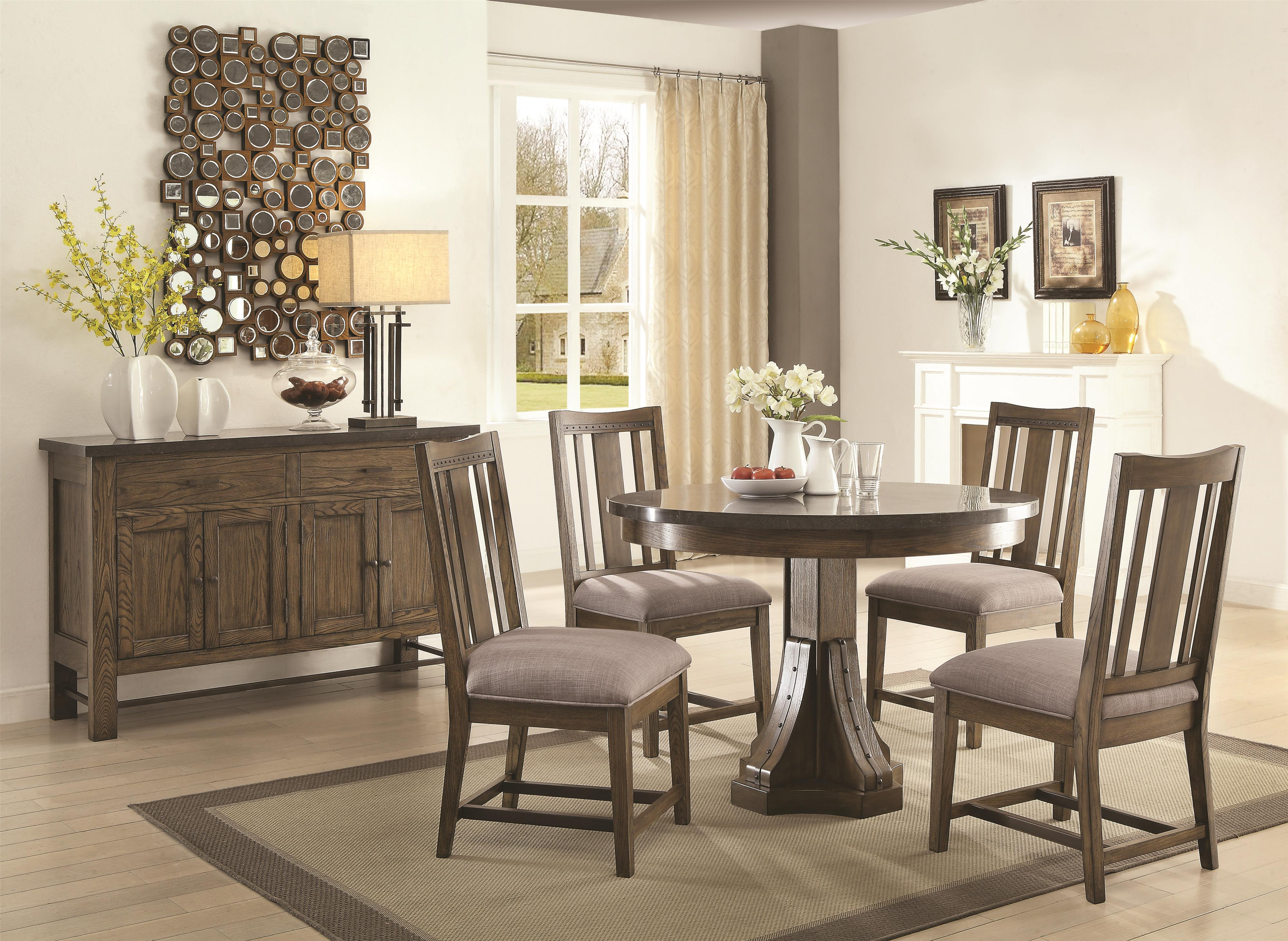 Coaster Willowbrook Rustic Industrial Round Dining Table With - Living room and dining room sets