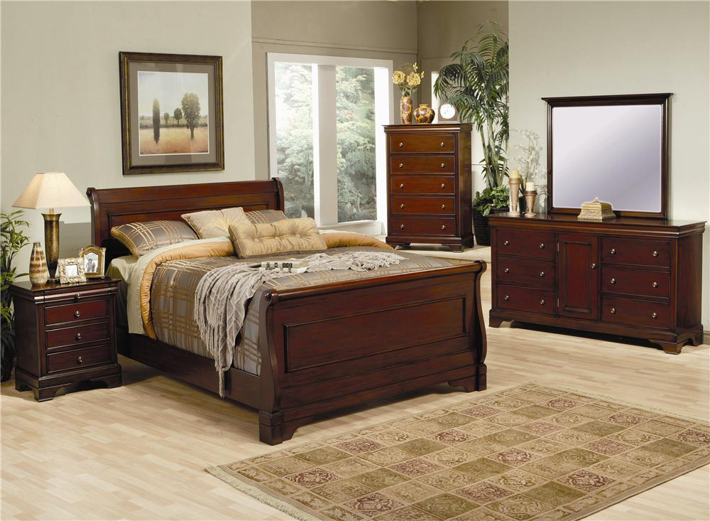 coaster king sleigh bed deep mahogany stain fine furniture cherry bedroom set size sets